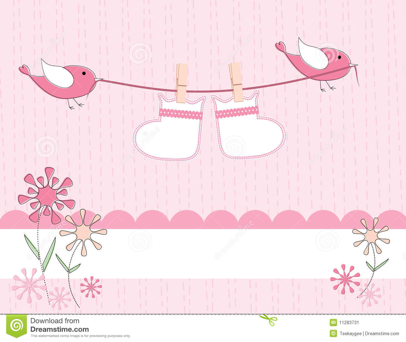 baby girl arrival announcement card stock image image