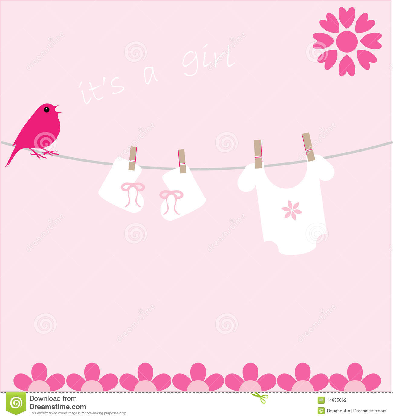 Baby Girl Arrival Announcement Card Stock Photography ...