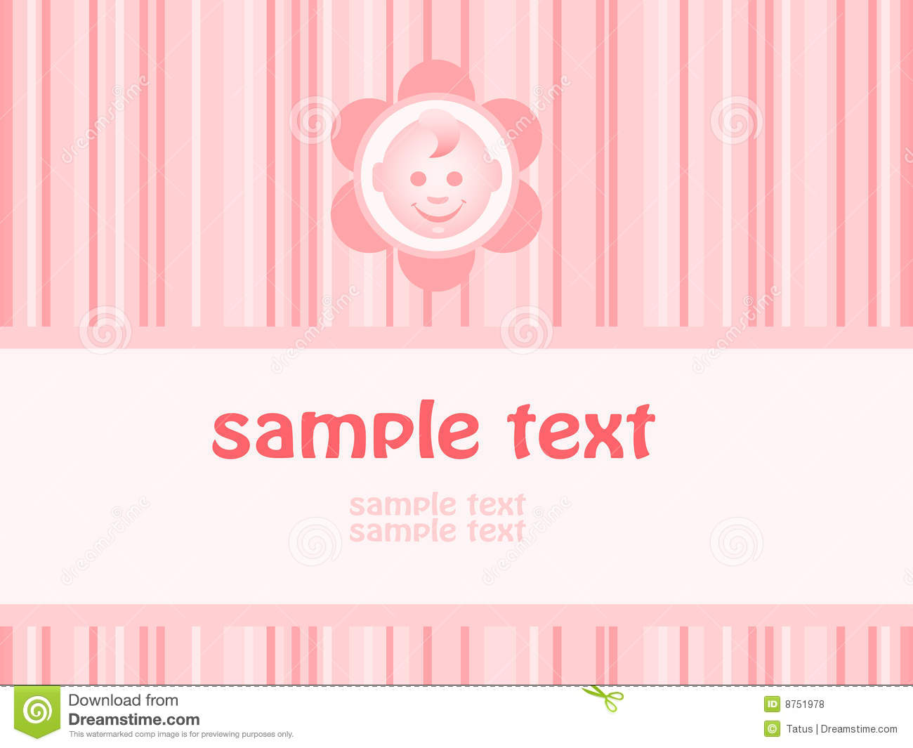 Baby Girl Arrival Announcement Card Royalty Free Photos – Announcement of Baby Girl