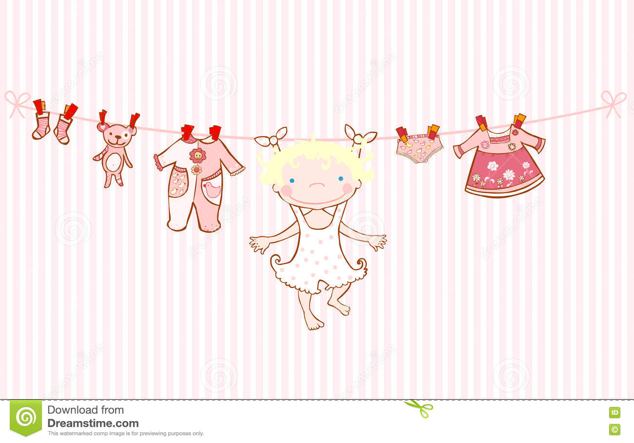 Baby girl arrival announcement card clothesline stock for Baby clothesline decoration baby shower