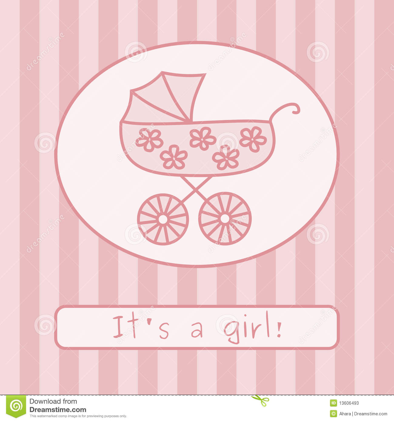 baby girl announcement clipart