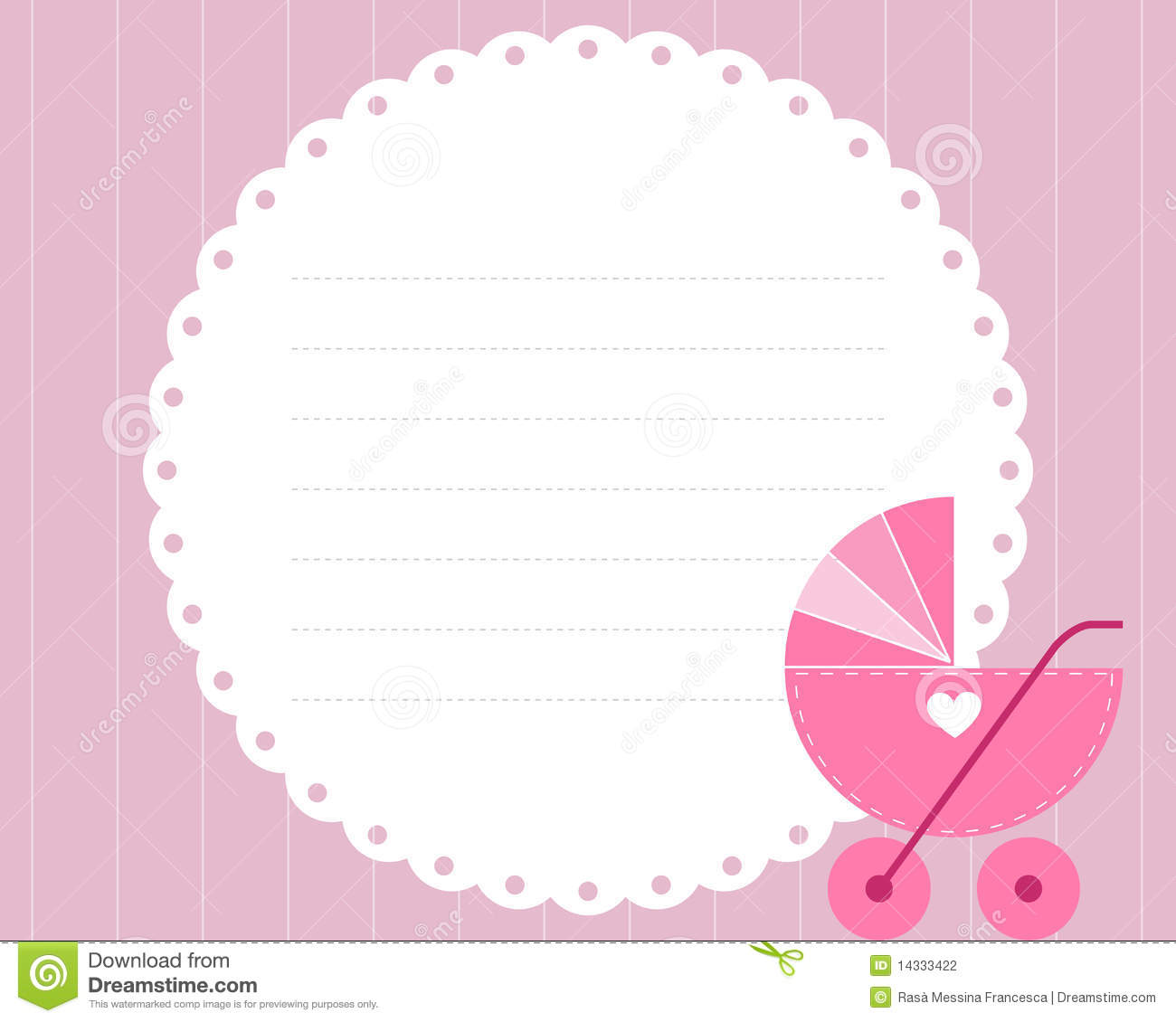 Baby Girl Arrival Card Stock Photography - Image: 14333422