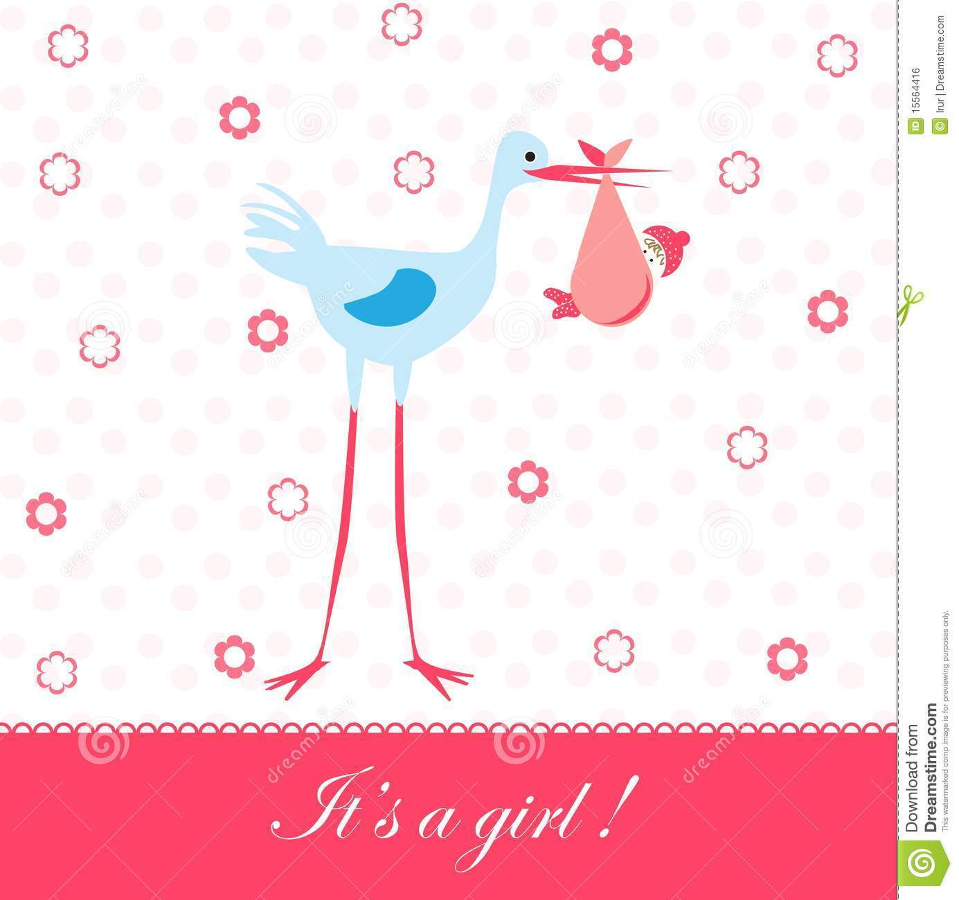 Baby Girl Arrival Card Royalty Free Stock Image Image