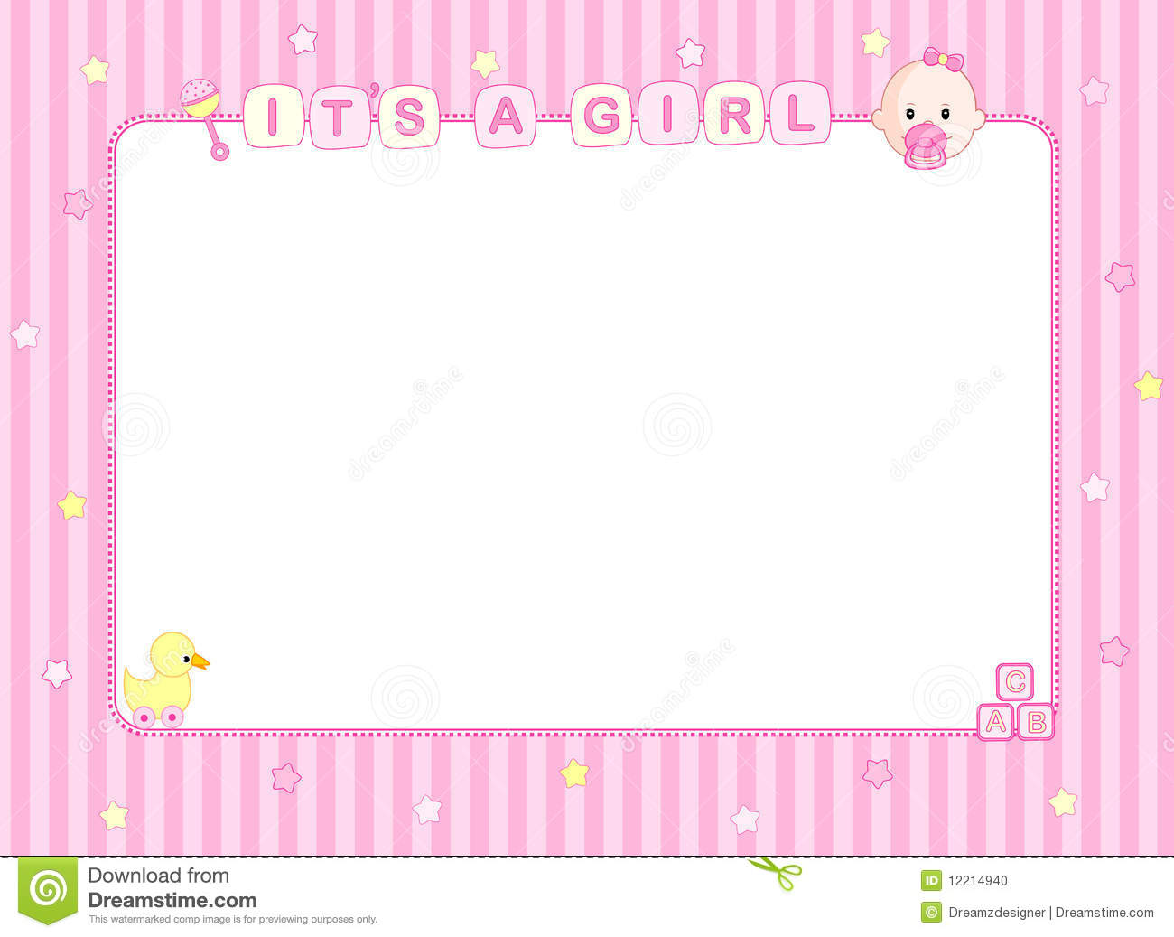 Baby Girl Arrival Card / Background Stock Photo - Image ...