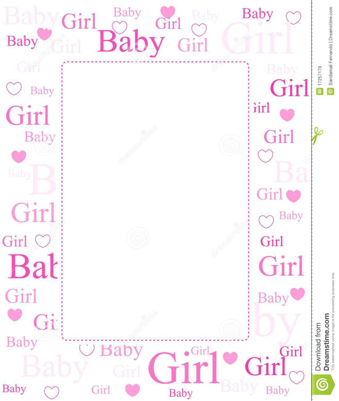 Download Baby Girl Arrival Card / Background Stock Vector   Illustration Of  Born, Border: