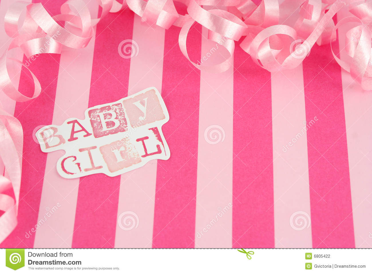 ... baby girl background with stripes and pink curled celebratory ribbon