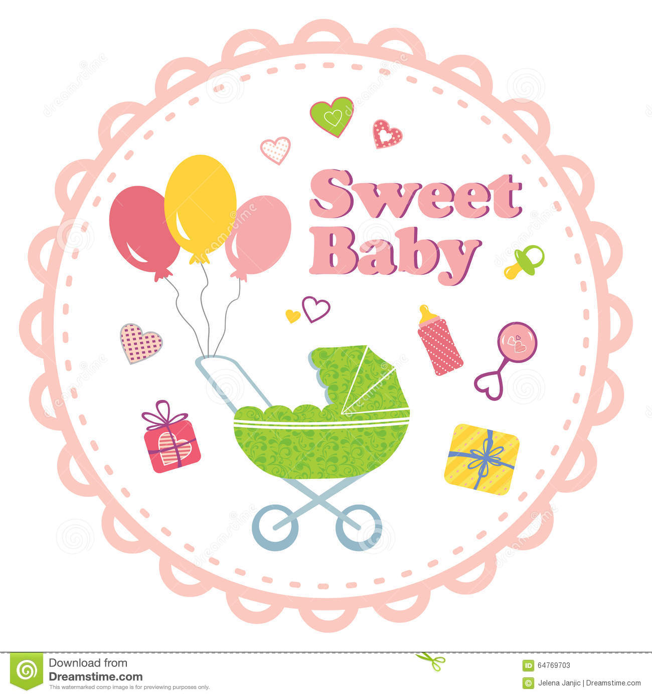 Baby Girl Background With Decorative Border Stock Vector ...