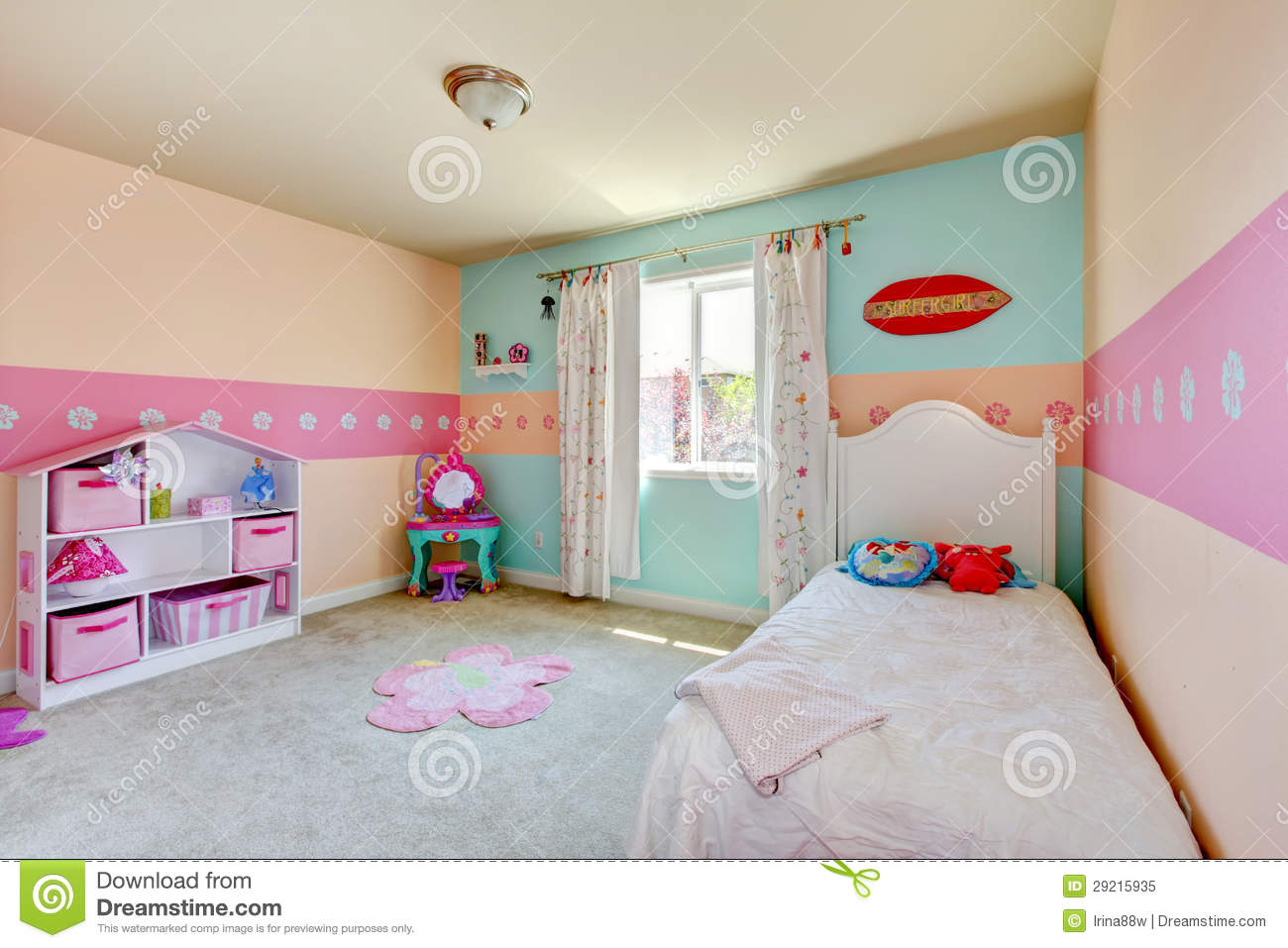 Baby Girl Bedroom With White Bed Royalty Free Stock Photo
