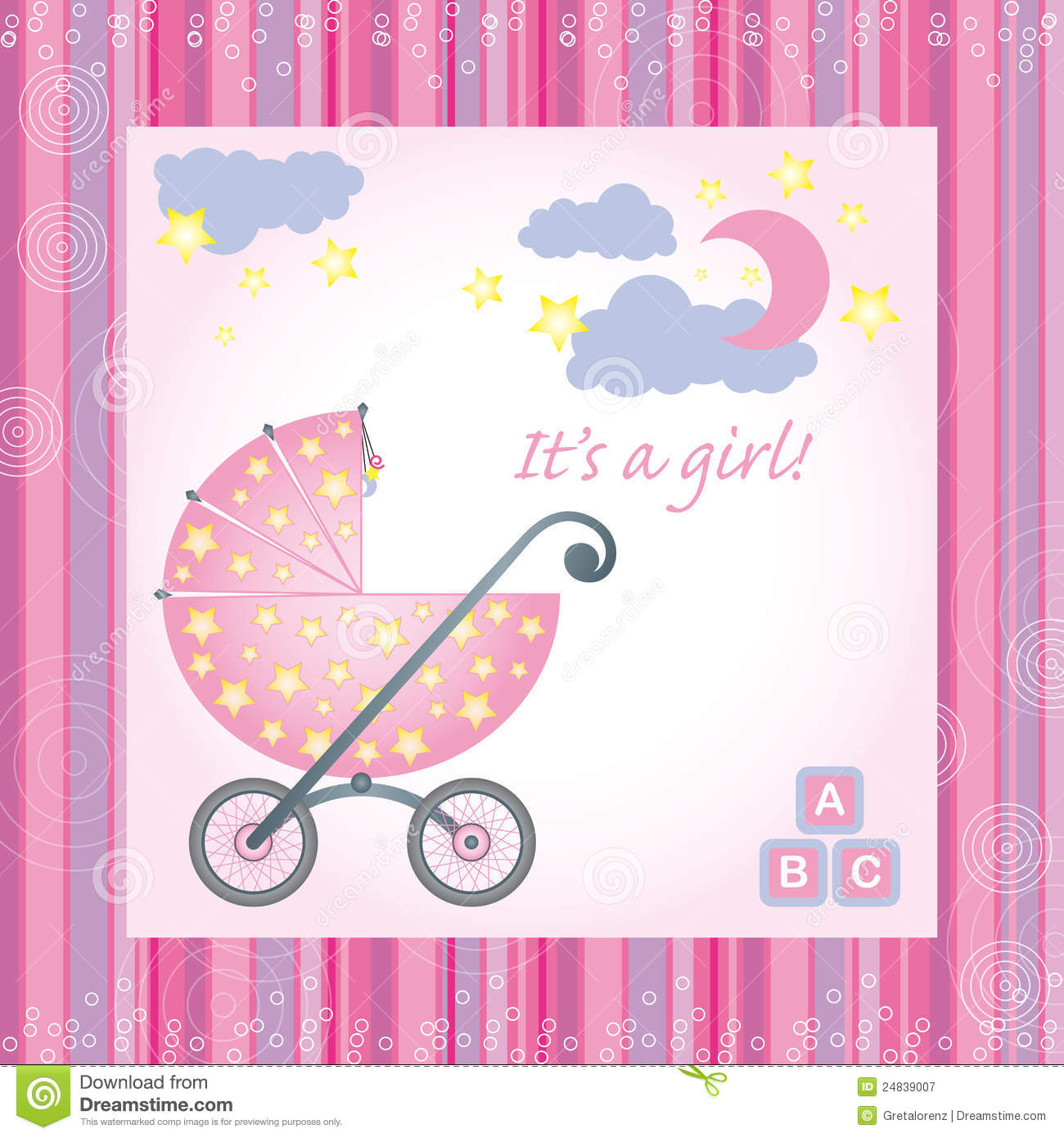 Baby Girl Birth Card Stock Vector Illustration Of Affection 24839007