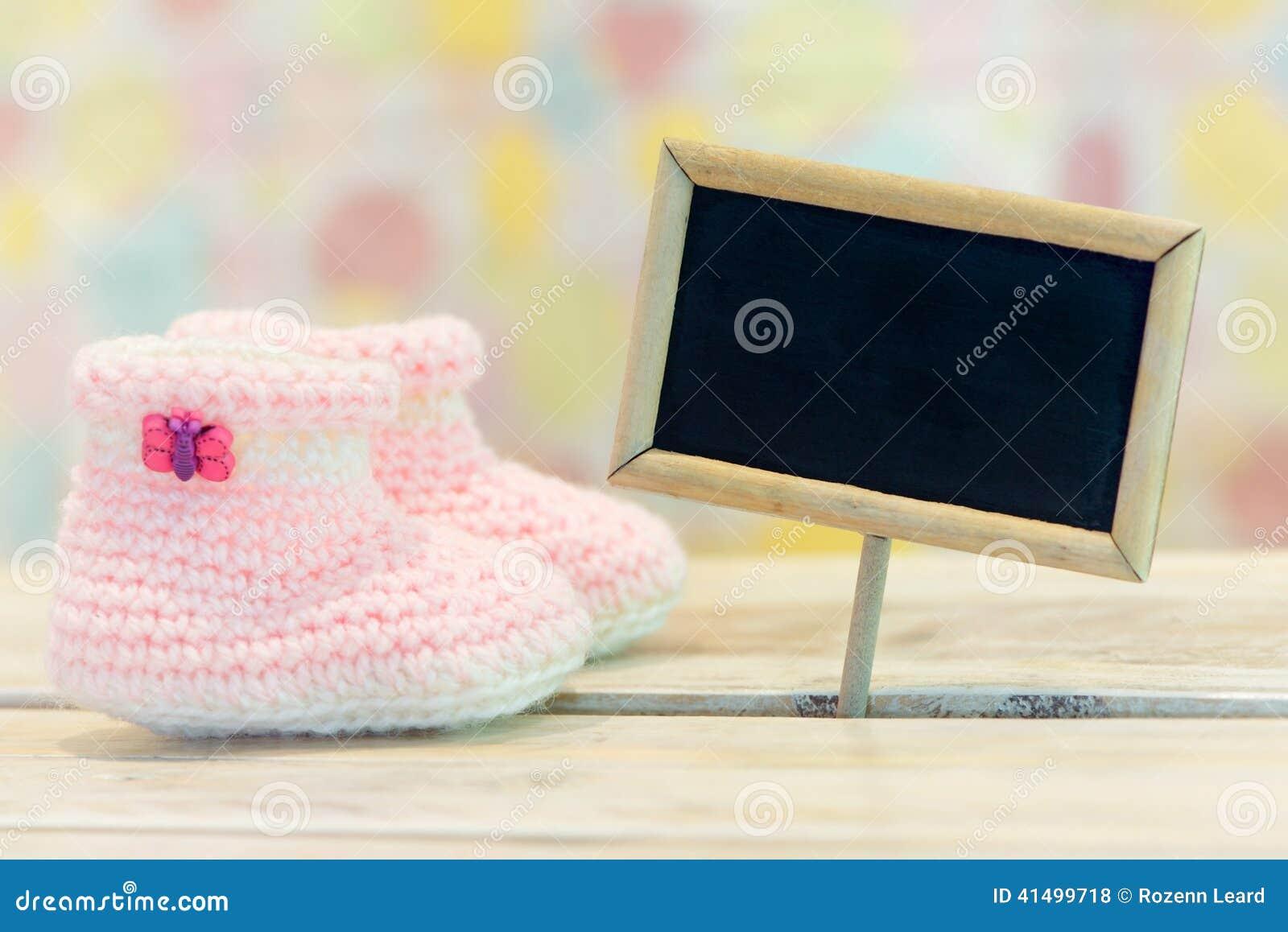 baby girl birth card stock photo