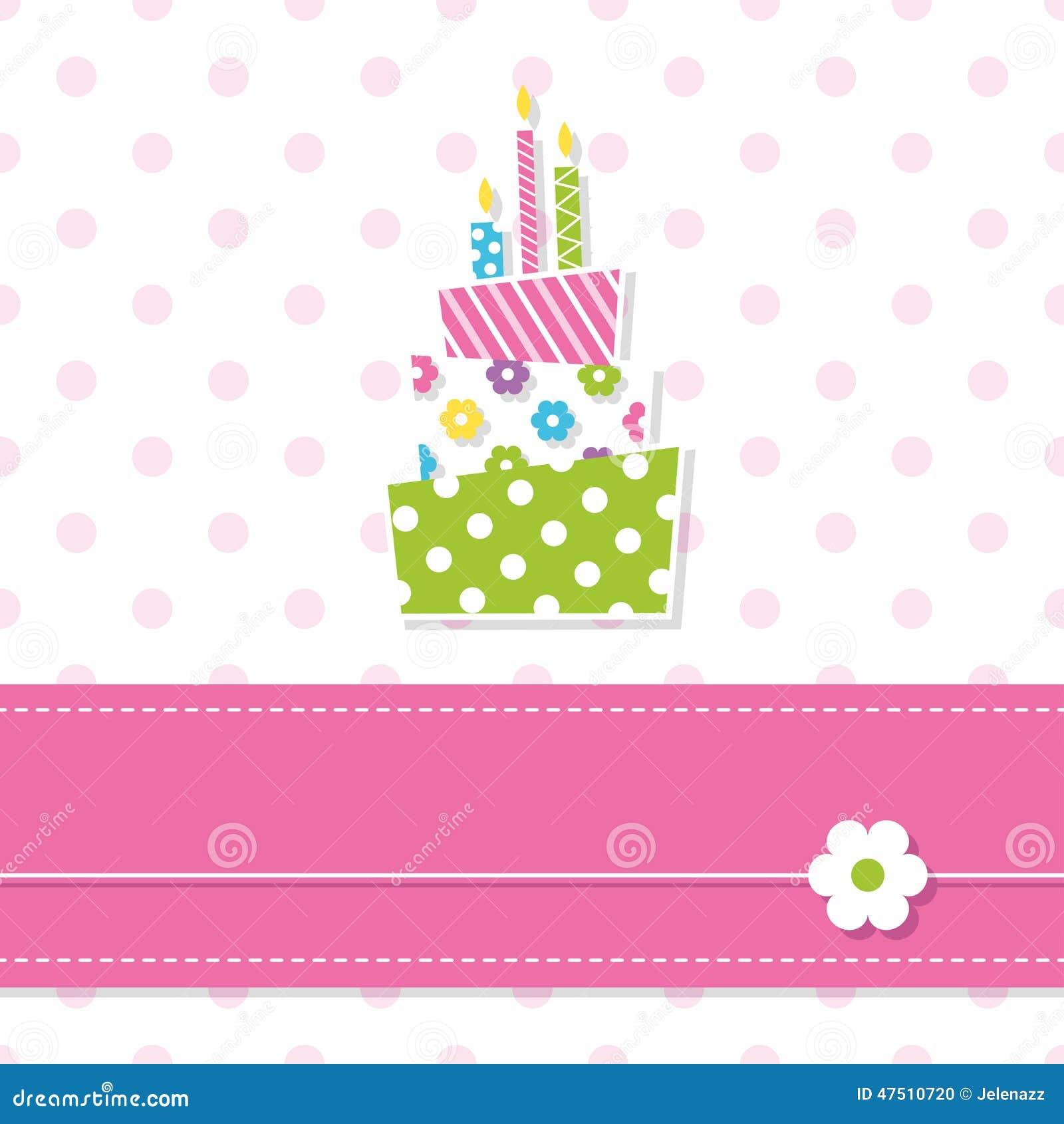 Pink 1st Birthday Polka Dot Candle: Baby Girl Birthday Cake Stock Vector