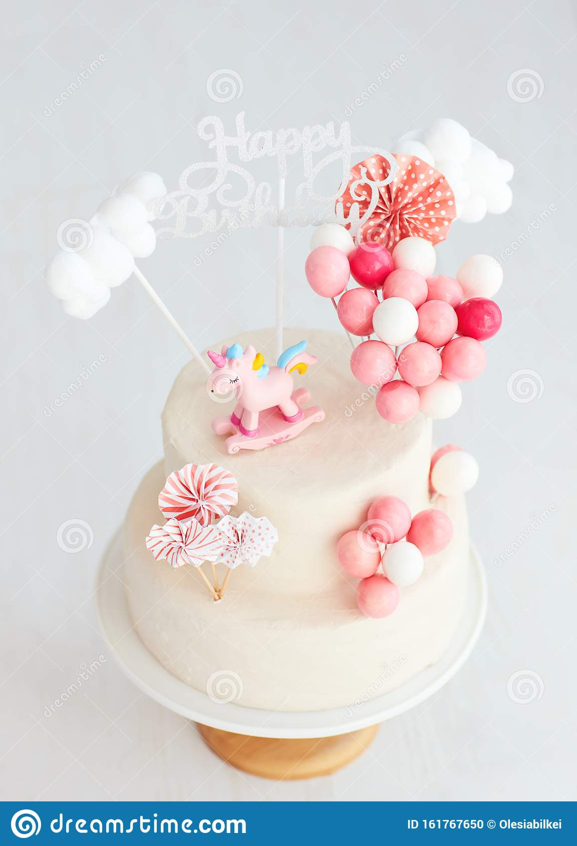 Awesome Baby Girl Birthday Cake With Unicorn And Balloons Stock Photo Funny Birthday Cards Online Fluifree Goldxyz