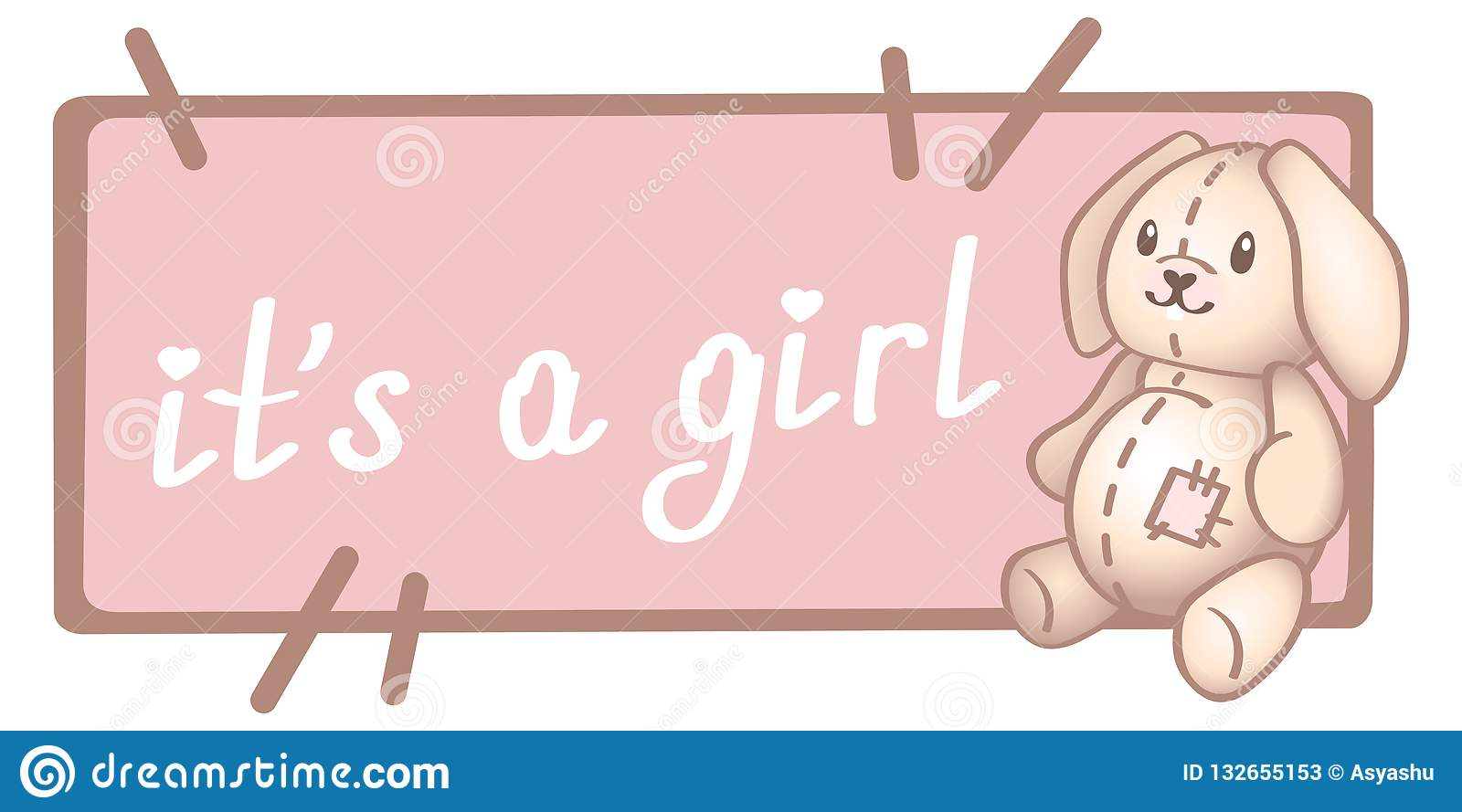 Baby birthday, invitation or greeting card, poster, template. Cute vector illustrations with new born baby toy. It is a girl card