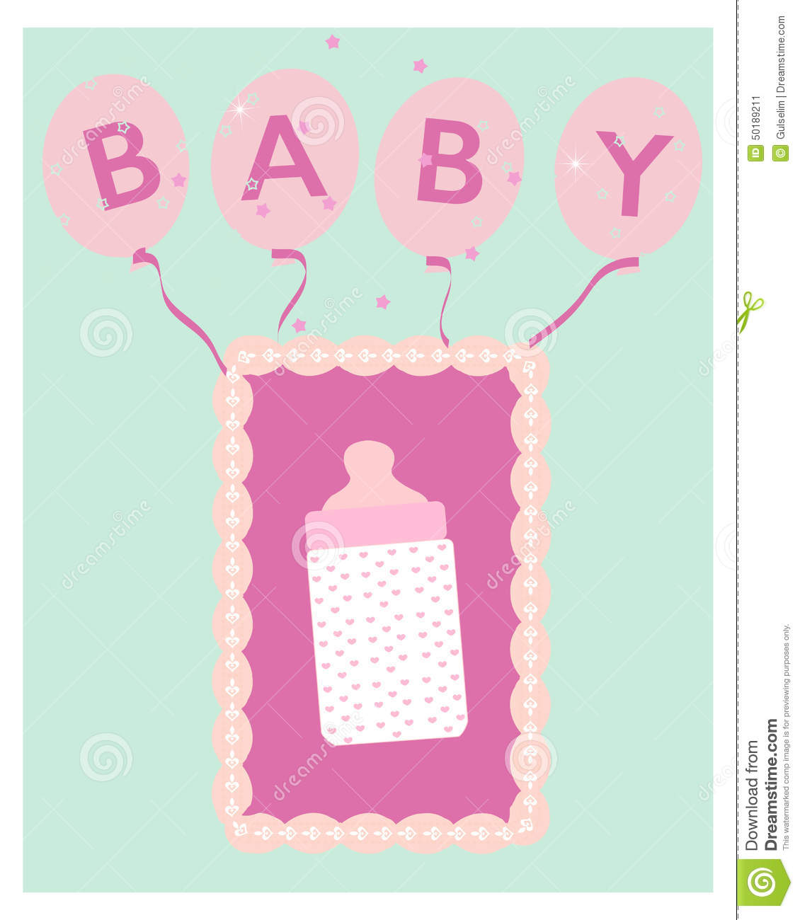 Baby Shower For Girl Wishes ~ Baby girl bottle and balloon shower greeting card