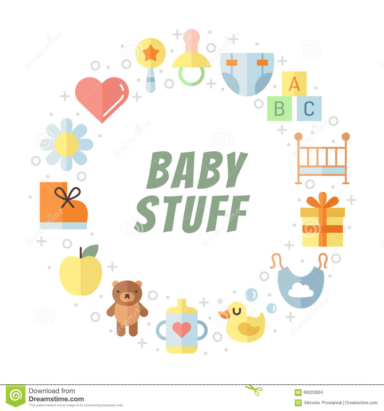 baby (girl and boy) stuff flat multicolored cute vector circle  - royaltyfree vector