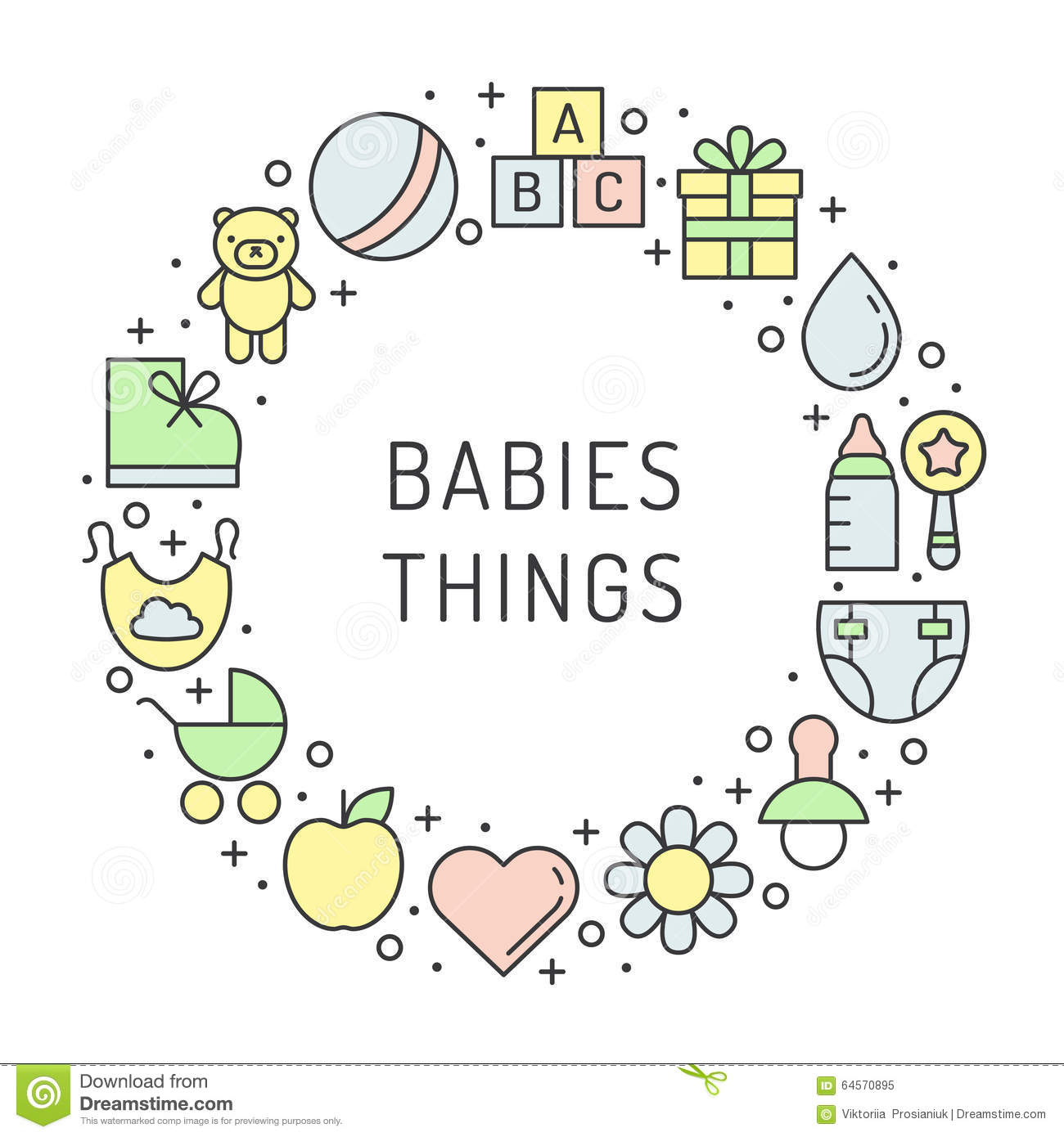 Baby (girl and boy) things outline multicolored cute vector circle frame background. Minimalistic design. Part one.