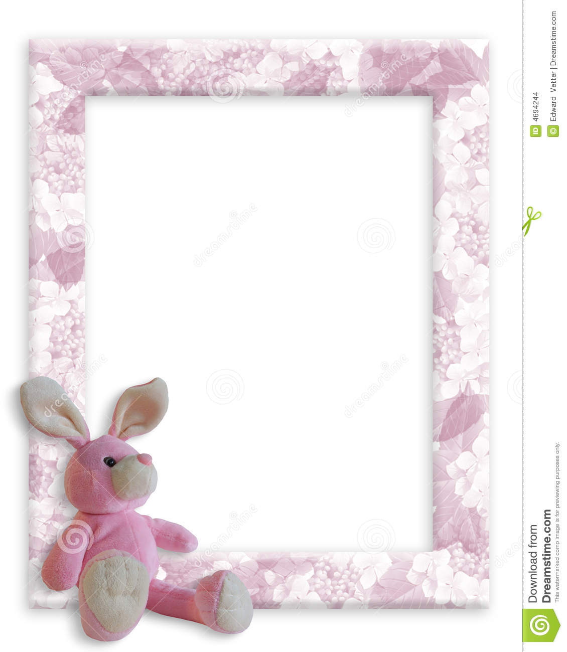 baby girl bunny frame stock images