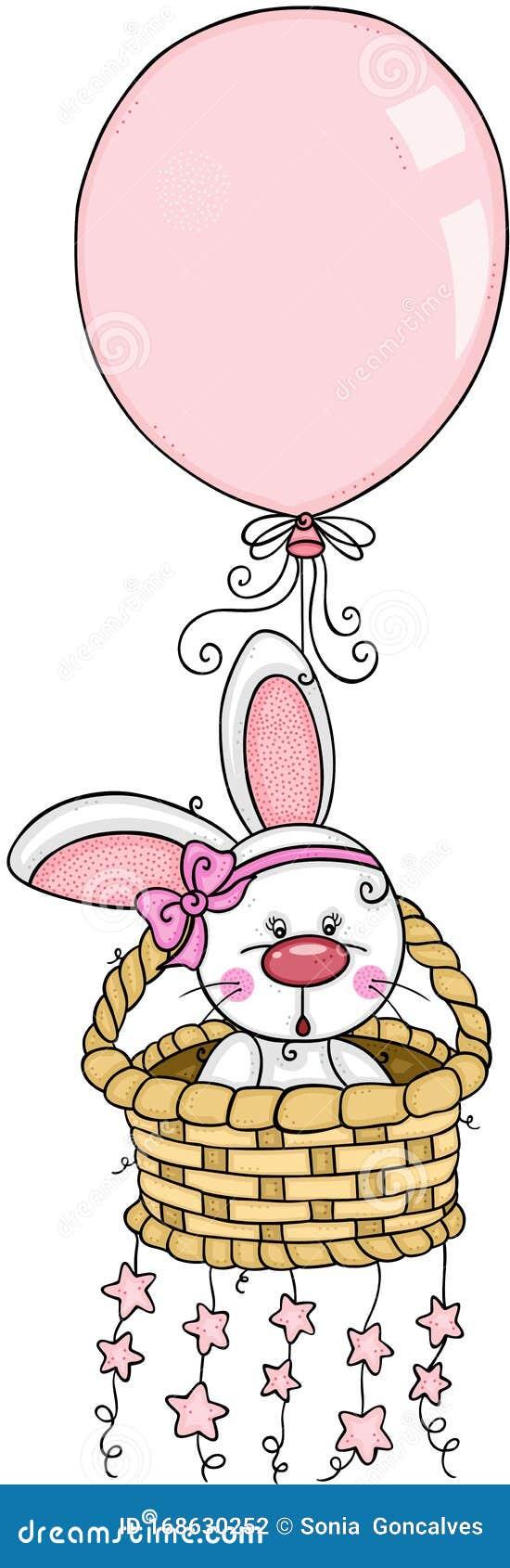 baby bunny met een ballon en sterren op de mandje