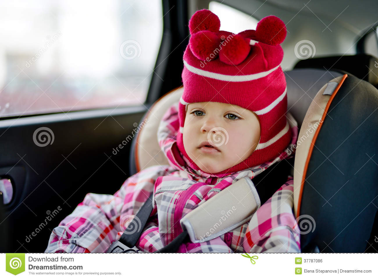 Baby Girl Infant Car Seats: Baby Girl In Car Seat Royalty-Free Stock Image