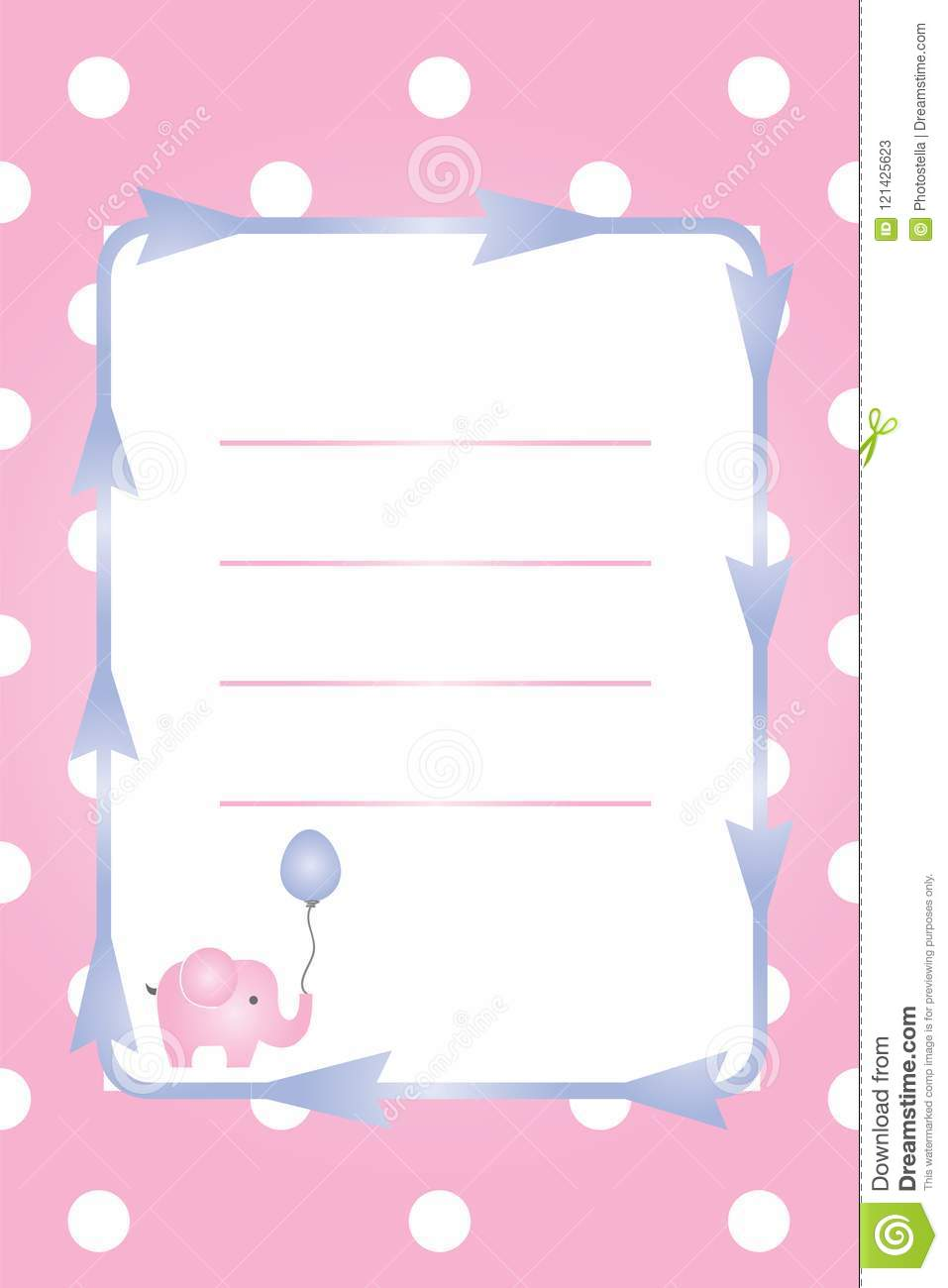 baby girl card baby shower party invitation christening