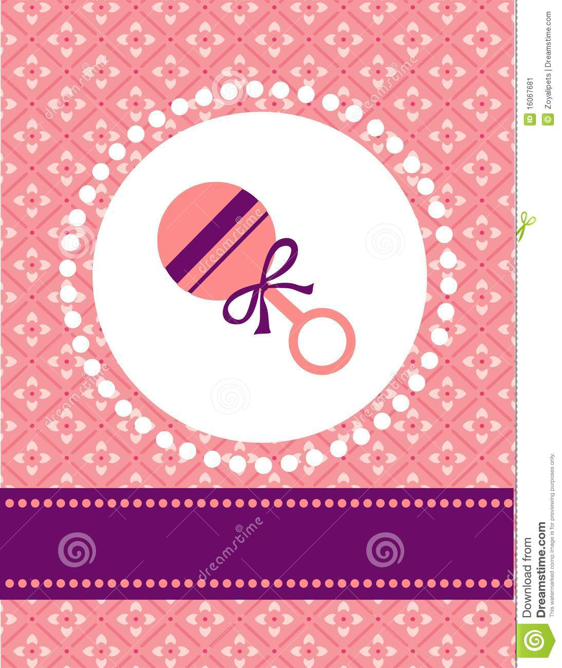 Baby Girl Card Template Stock Vector Illustration Of