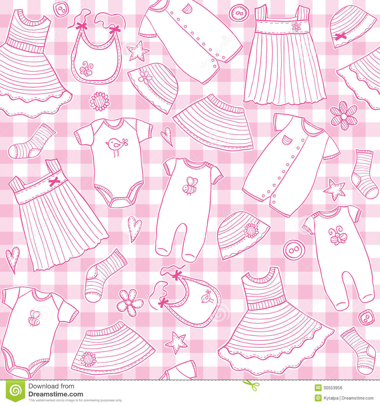4c5135194c74 Baby Girl Clothes Seamless Pattern Stock Vector - Illustration of ...