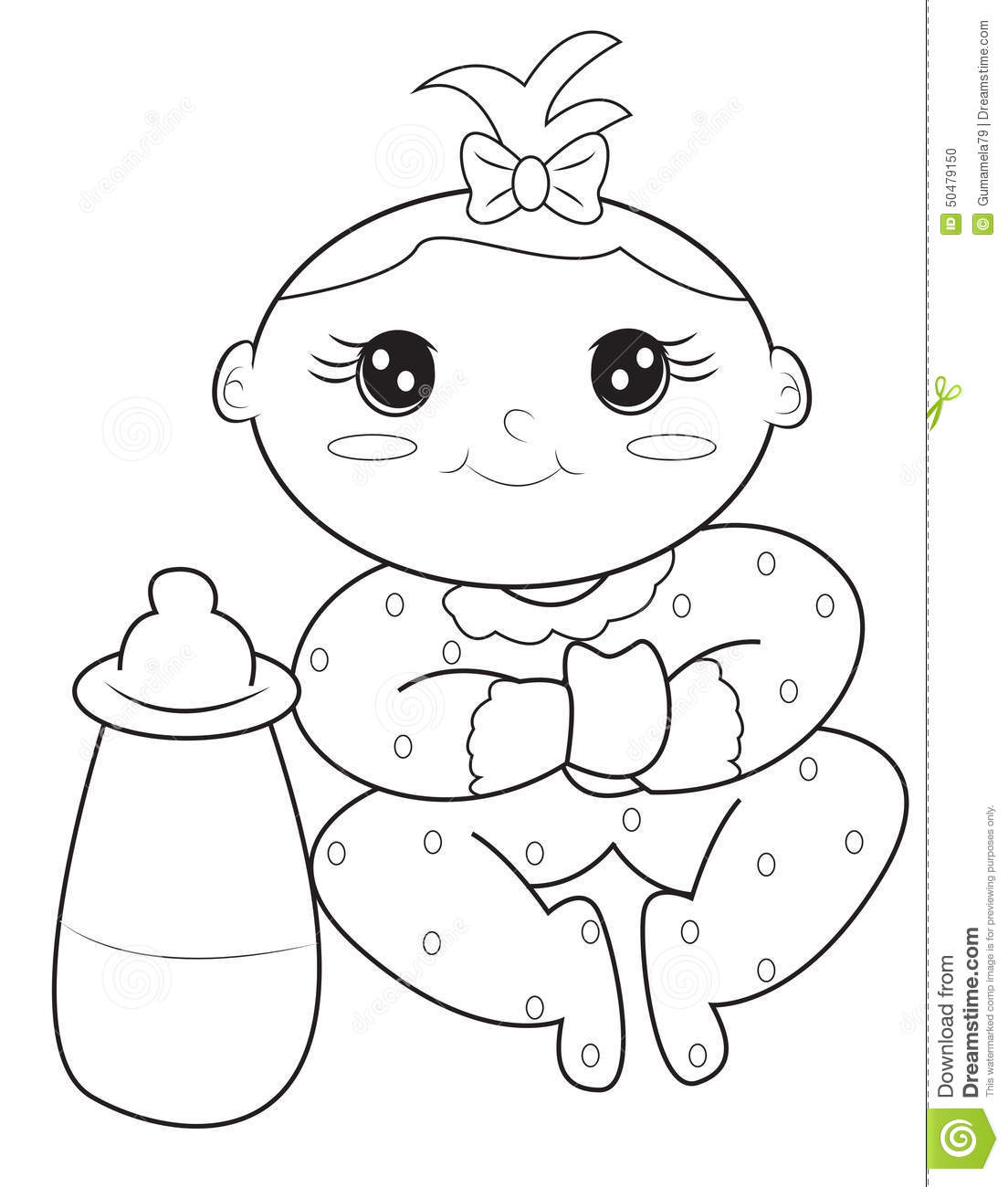 Baby Girl Coloring Page Royalty Free Illustration