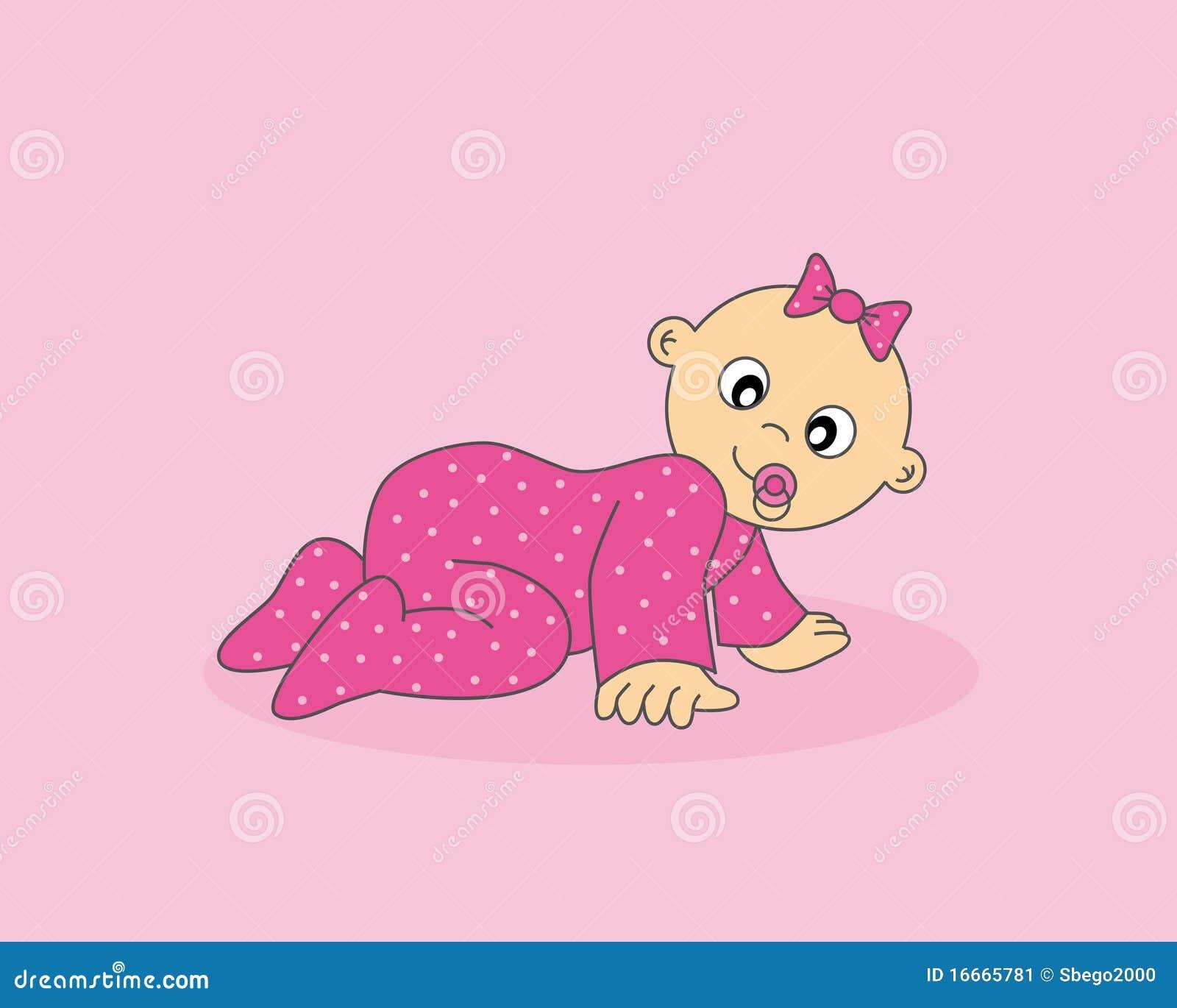 Baby Girl Crawling Stock Illustrations 312 Baby Girl Crawling
