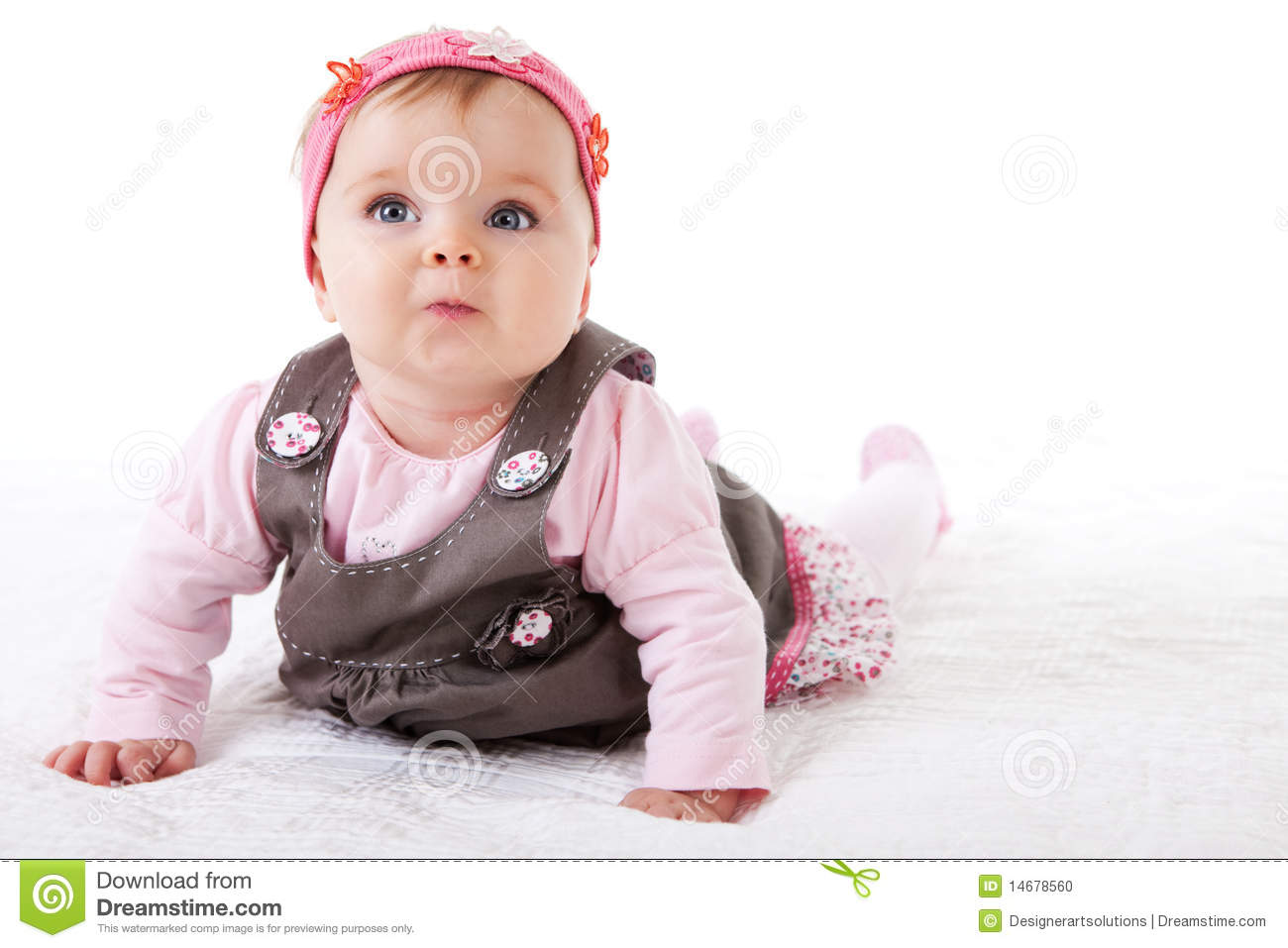Baby Girl Crawling On The Floor Stock Photo Image 14678560