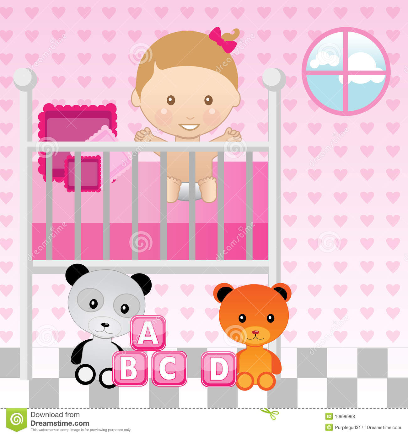 Baby Girl In Crib Royalty Free Stock Photos - Image: 10696968 Pink Teddy Bears With Hearts Wallpaper