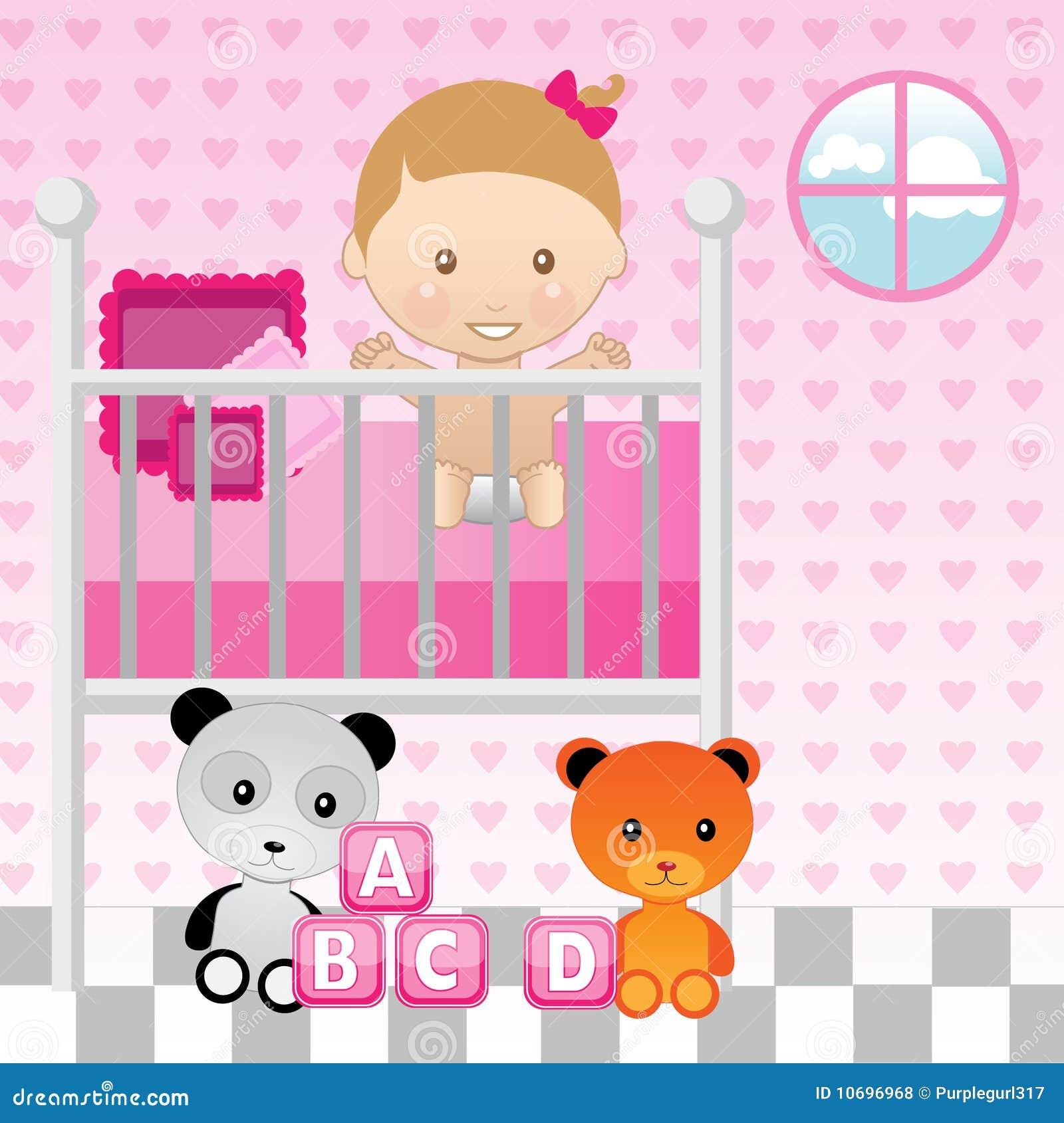 baby girl in crib royalty free stock photos  image  - baby crib
