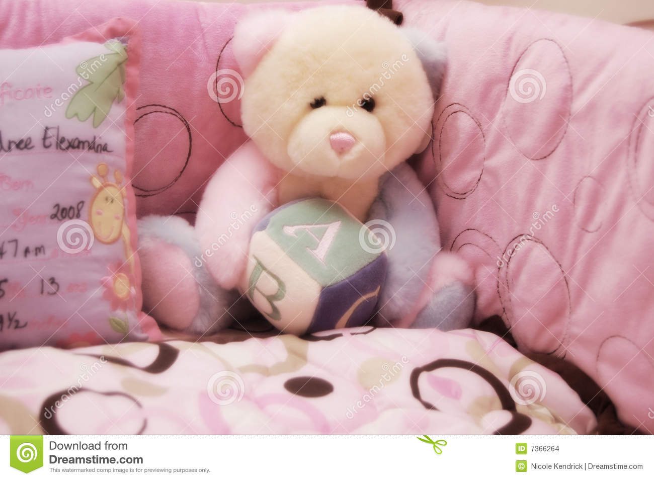 Baby Girl Crib And Teddy Bear Stock Photo Image Of Baby