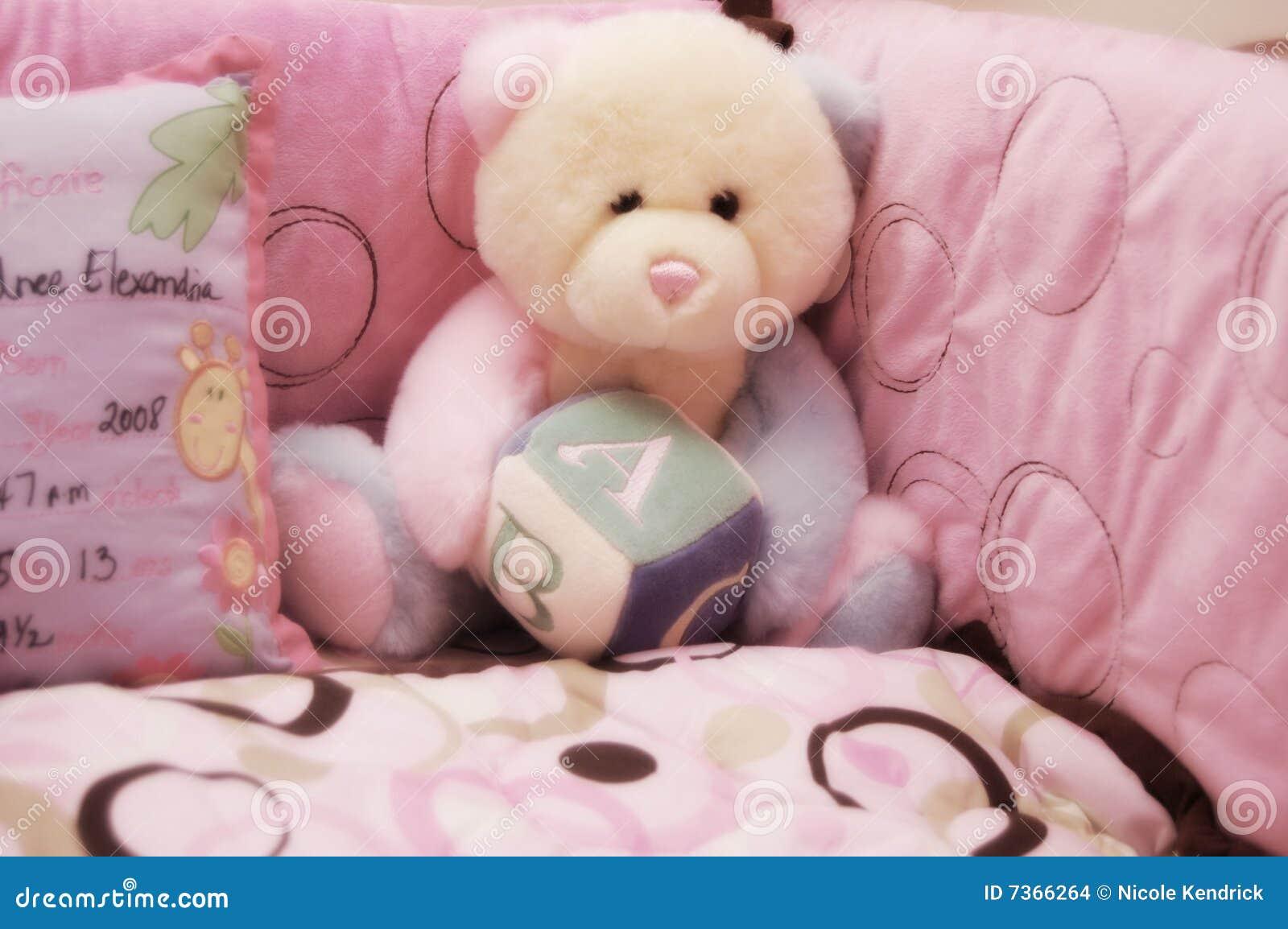 Baby Girl Crib And Teddy Bear Stock Images Image 7366264