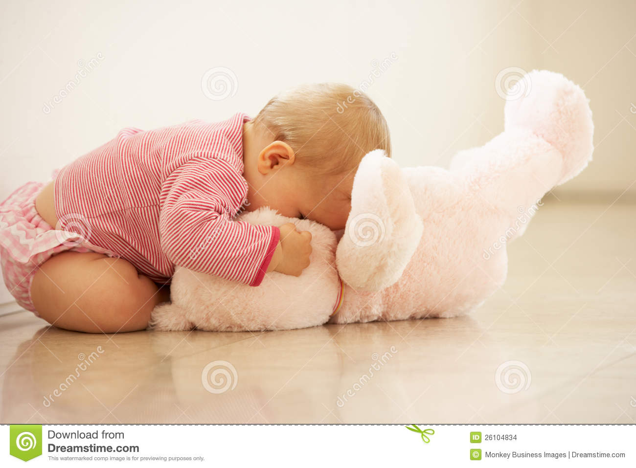 baby girl cuddling pink teddy bear at home stock photo image of cute person 26104834. Black Bedroom Furniture Sets. Home Design Ideas