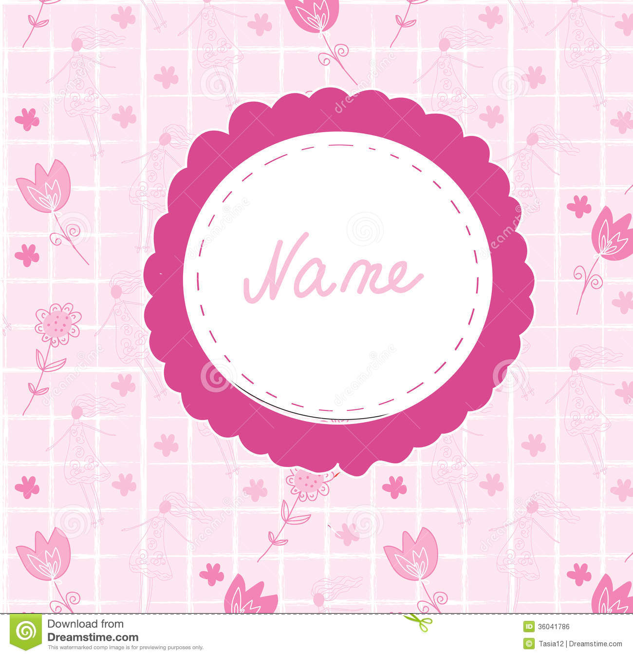 Baby Girl Cute Announcement Card With Frame Royalty Free – Baby Name Announcement