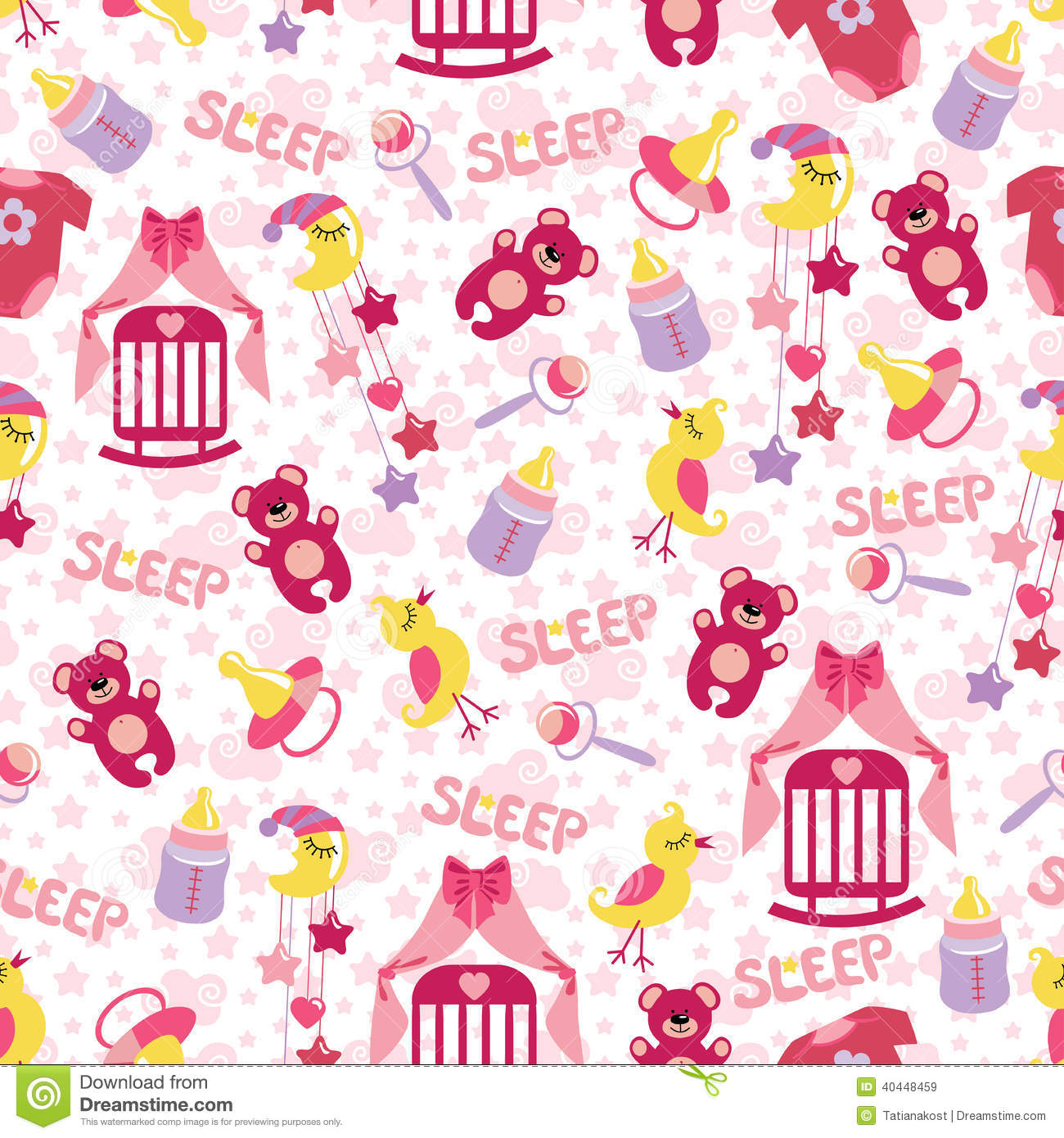 Baby Girl Cute Seamless Pattern Sleep Newborn Ite Royalty Free Stock Images