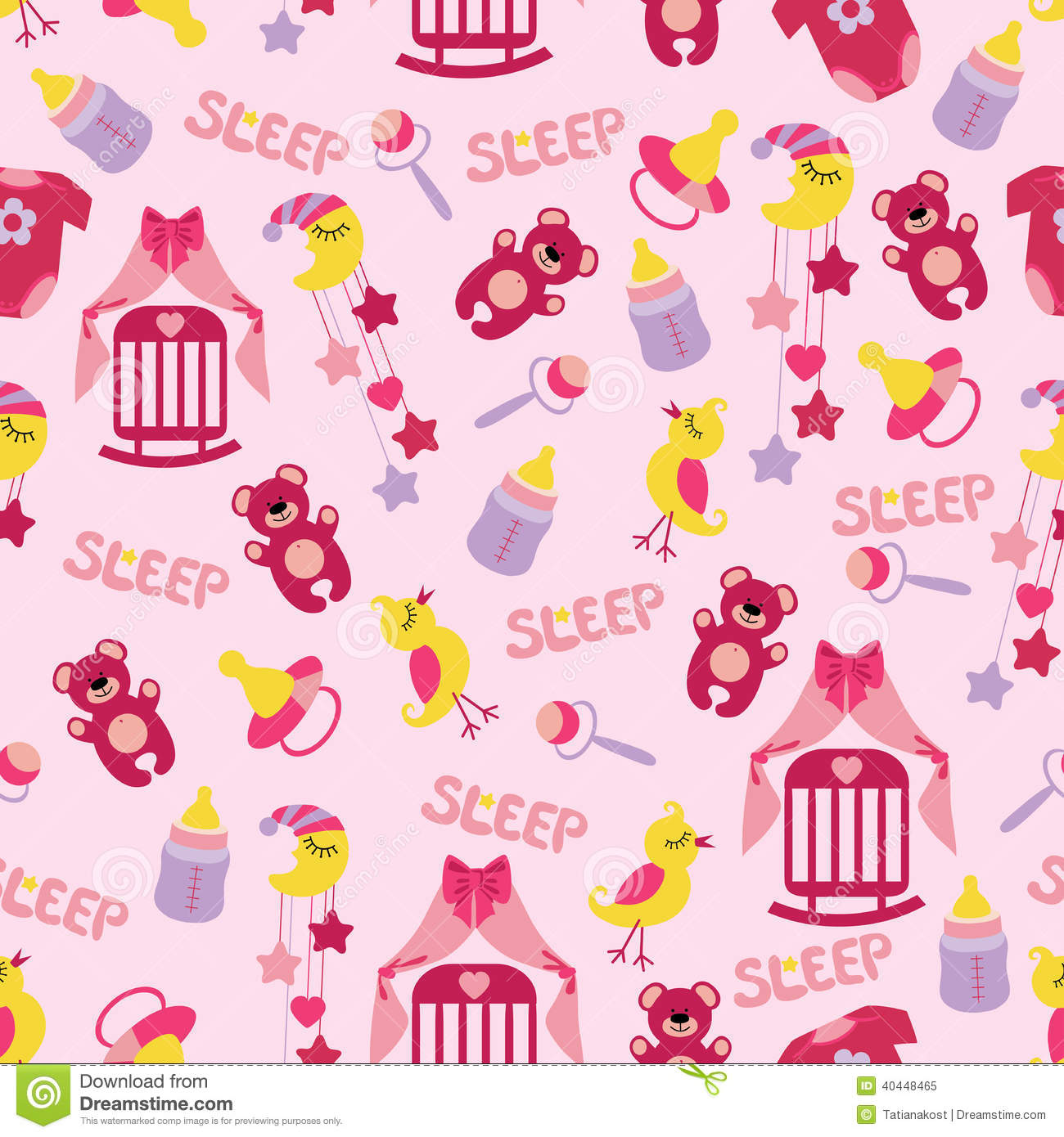 Download Baby Girl Cute Seamless Pattern Sleep Newborn Ite Stock Illustration