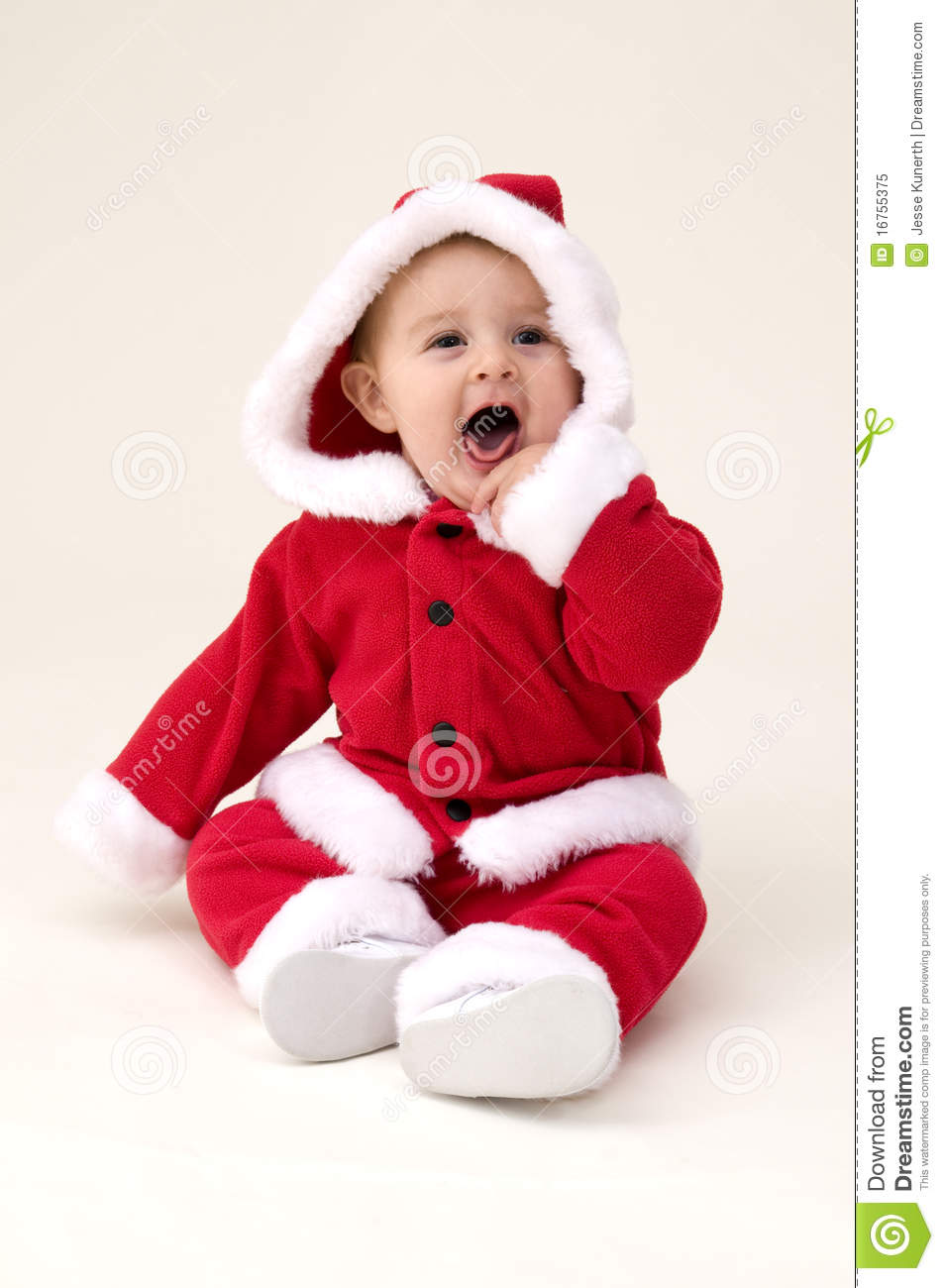baby girl dressed up in santa costume stock image - image of