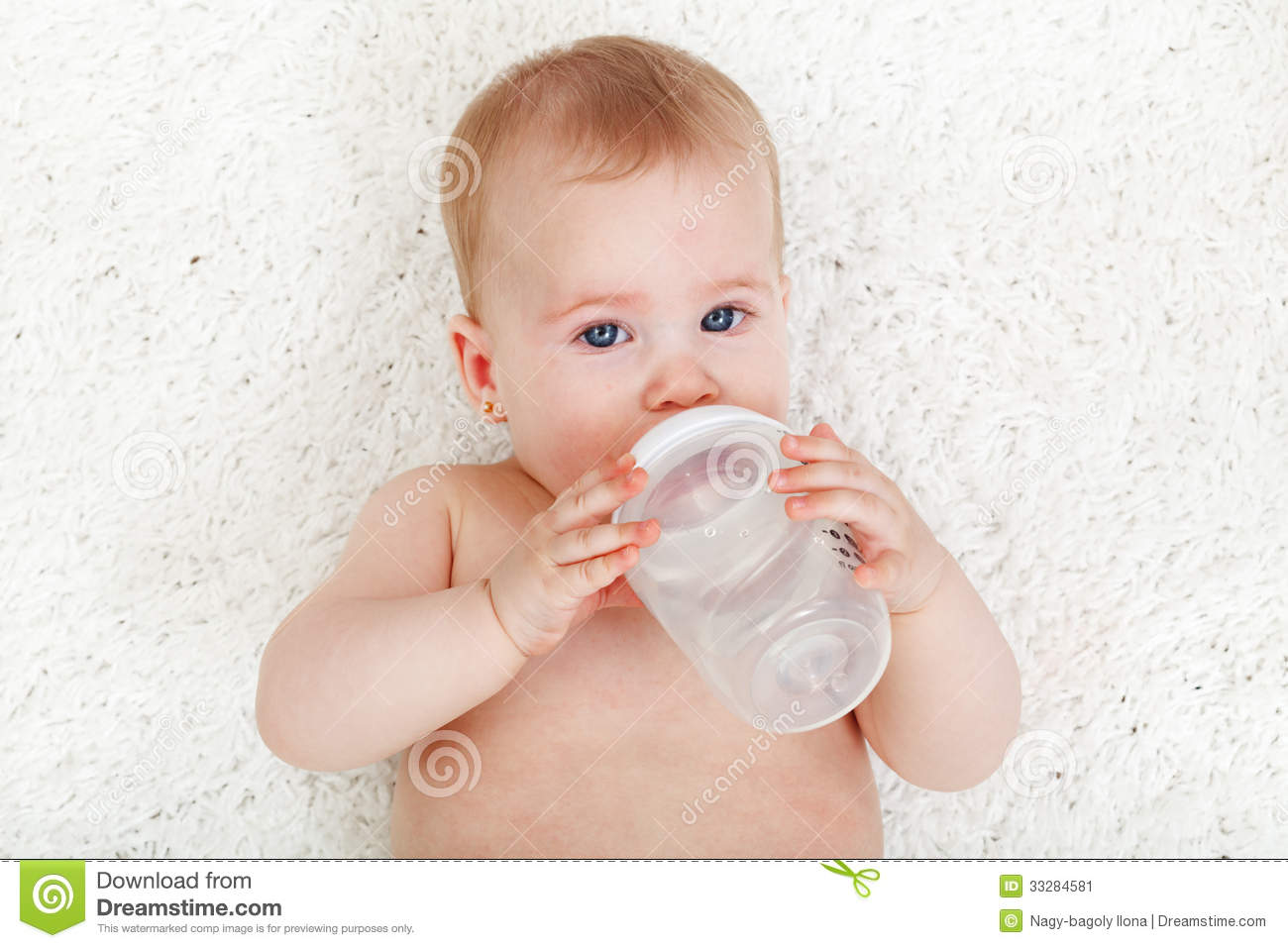 Baby Girl Drinking Water Stock Image - Image: 33284581