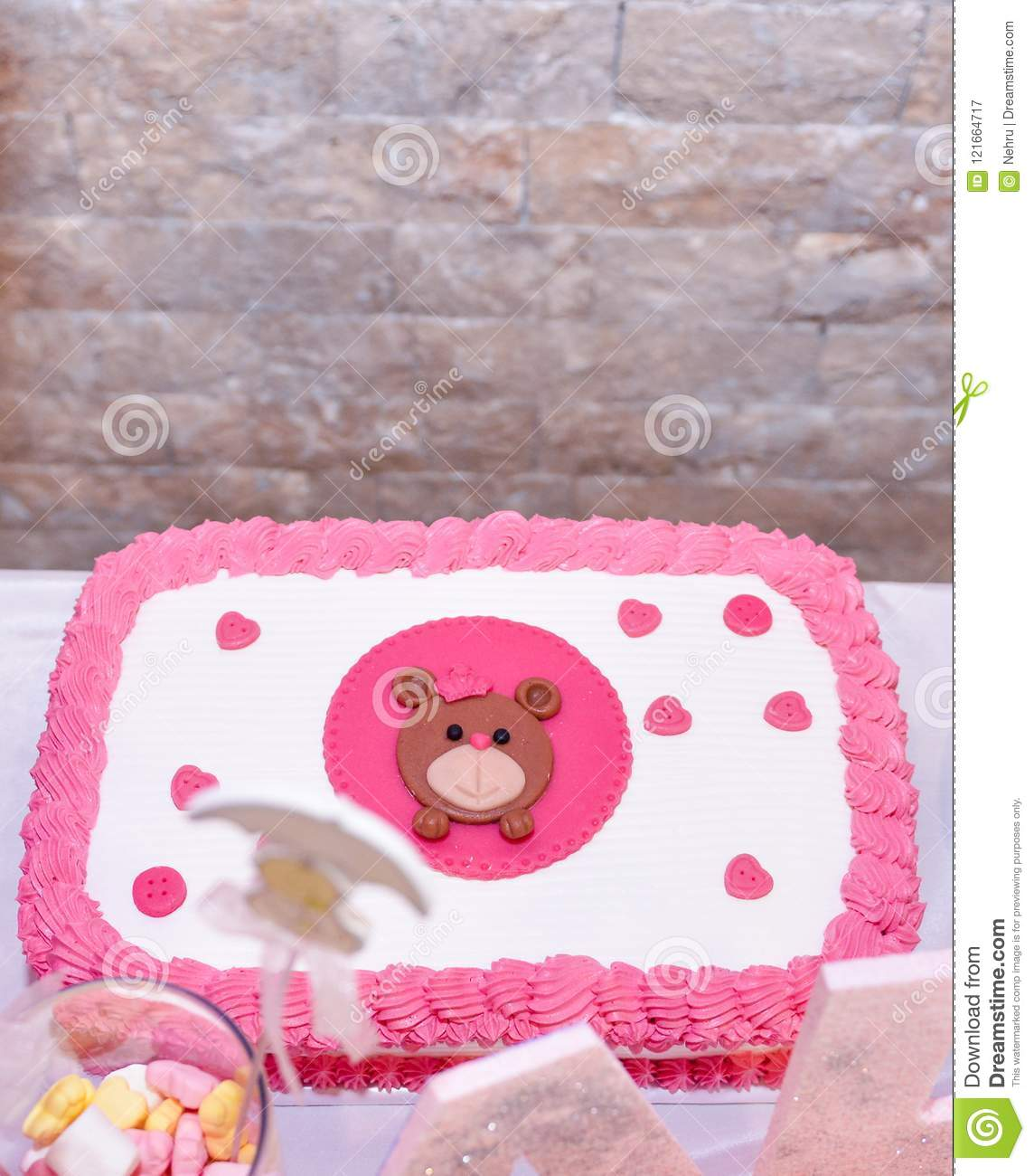 baby girl first birthday cake with teddy bear stock image image of