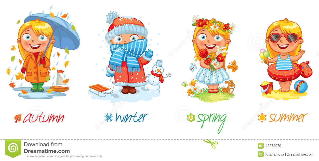 Baby Girl And The Four Seasons Stock Vector - Image: 48378070