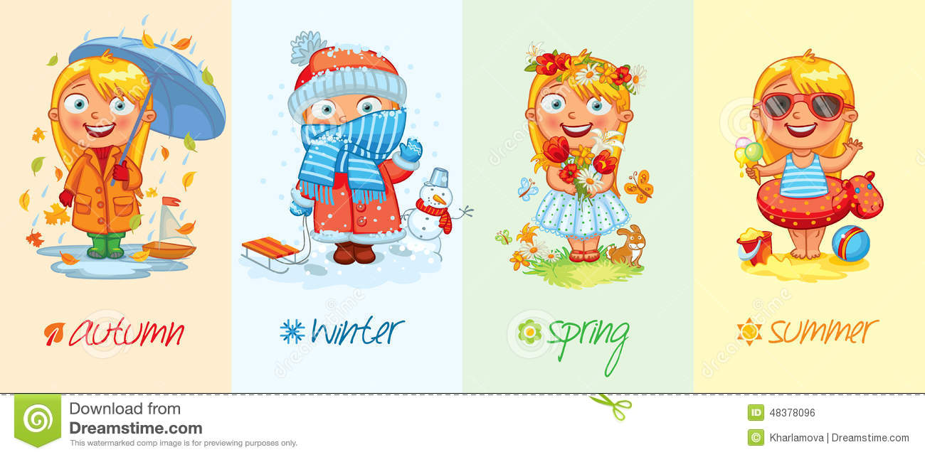baby girl and the four seasons stock vector image 48378096