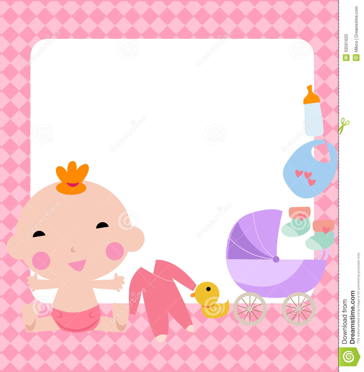 Baby girl and frame stock vector. Illustration of sock - 33591620