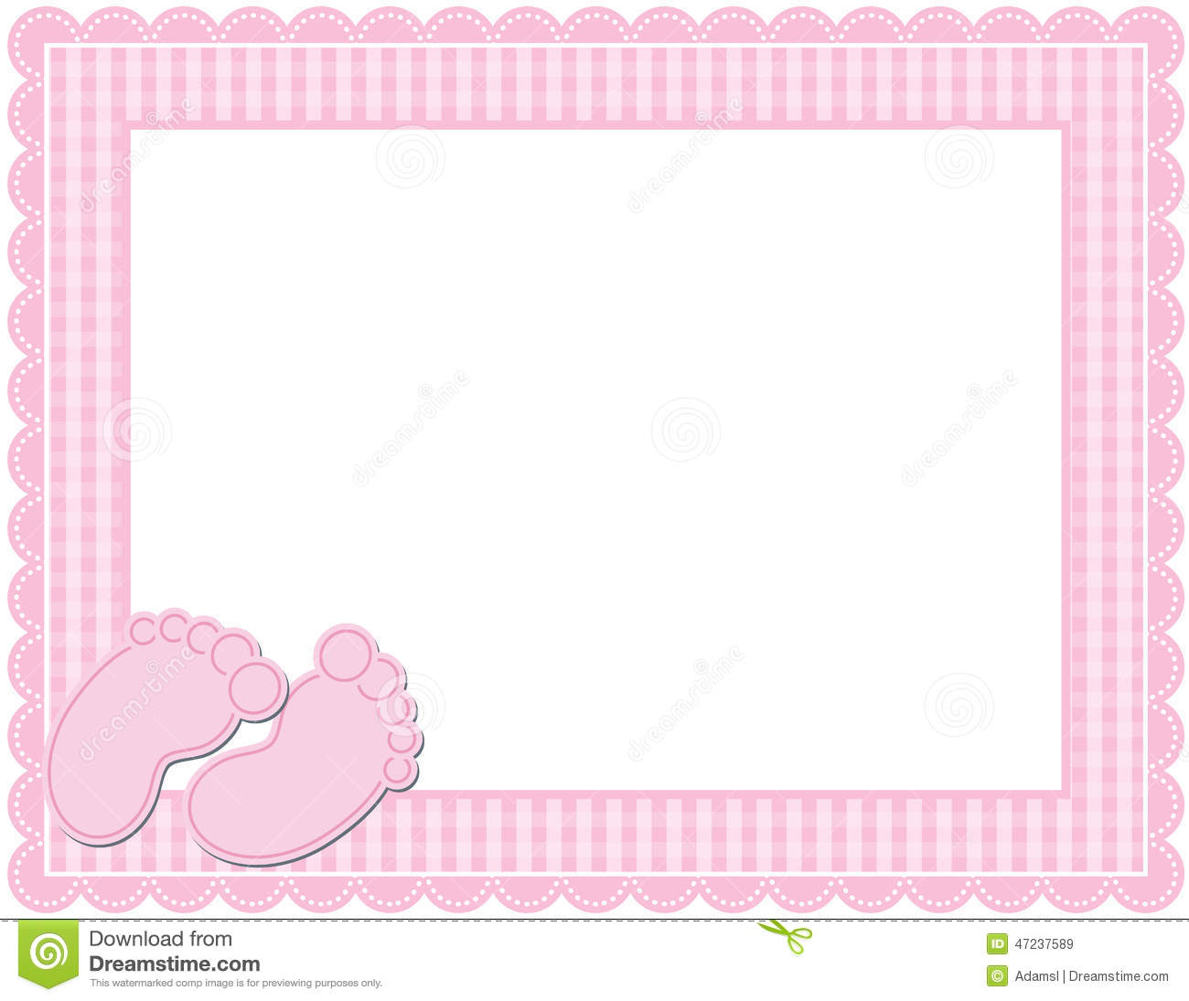 Baby Girl Gingham Frame Illustration 47237589 - Megapixl