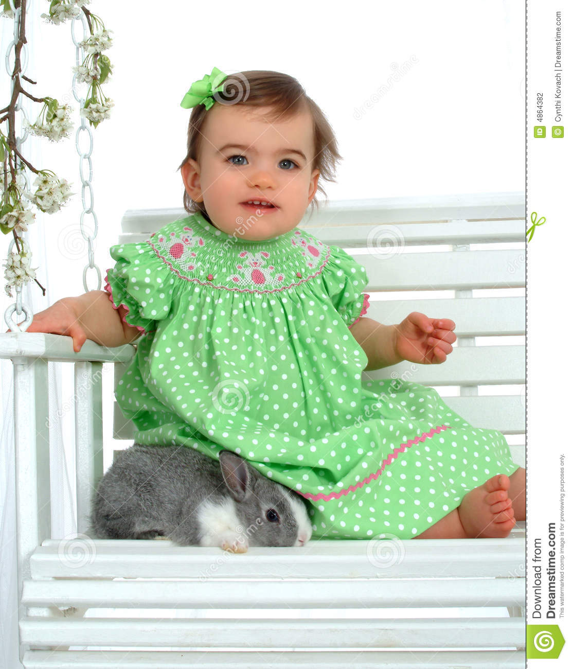 Baby Girl in Green and Bunny
