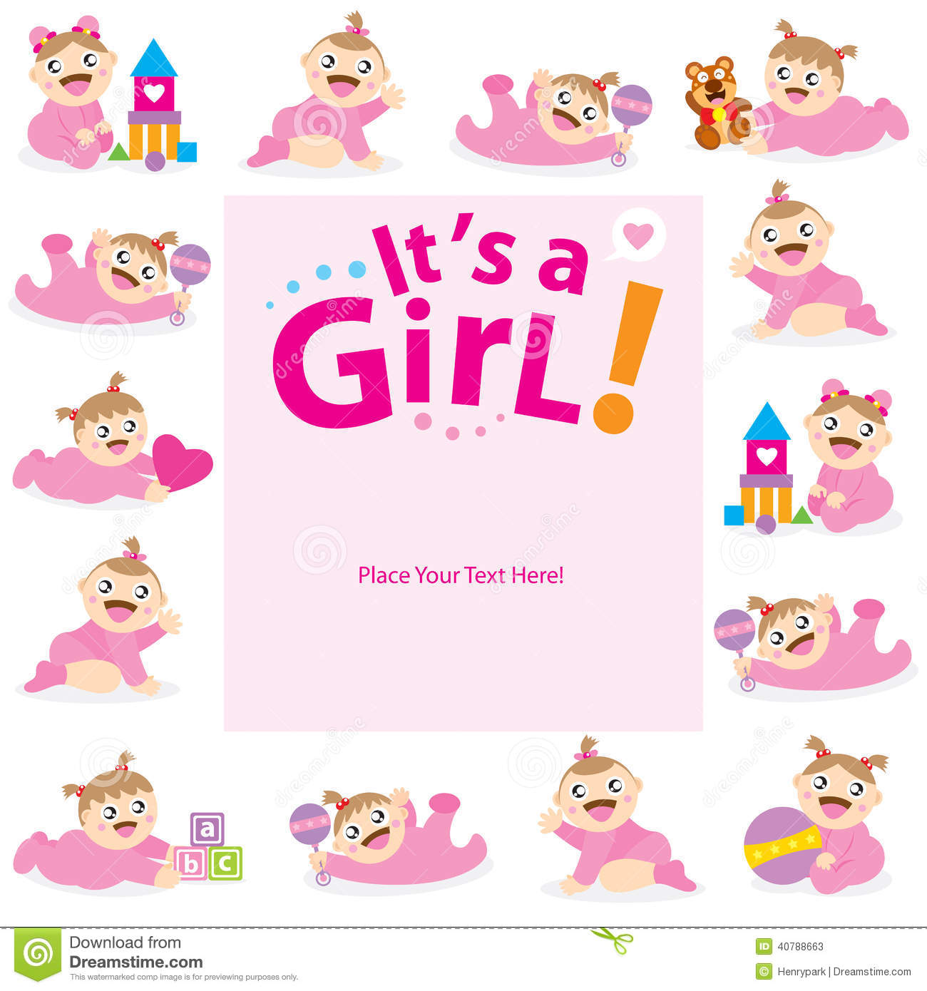 Baby girl greeting card design stock vector illustration of icon baby girl greeting card design kristyandbryce Images