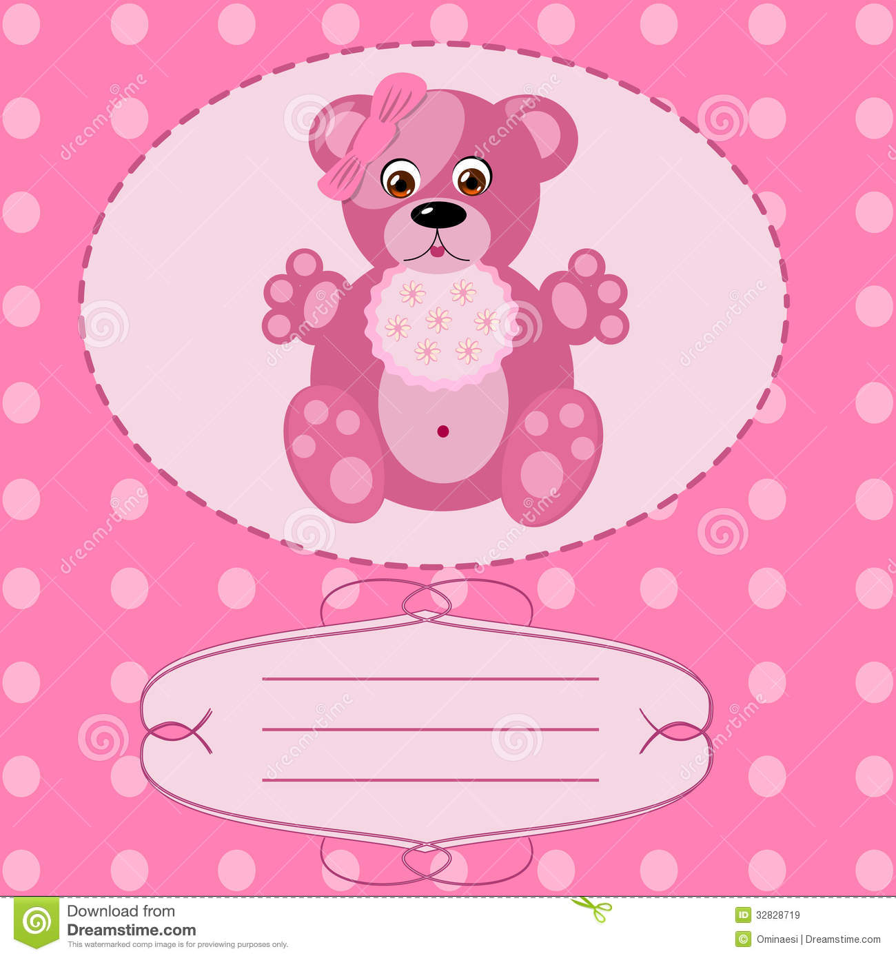 Baby Girl Greeting Card, Vector Background Stock Vector ...