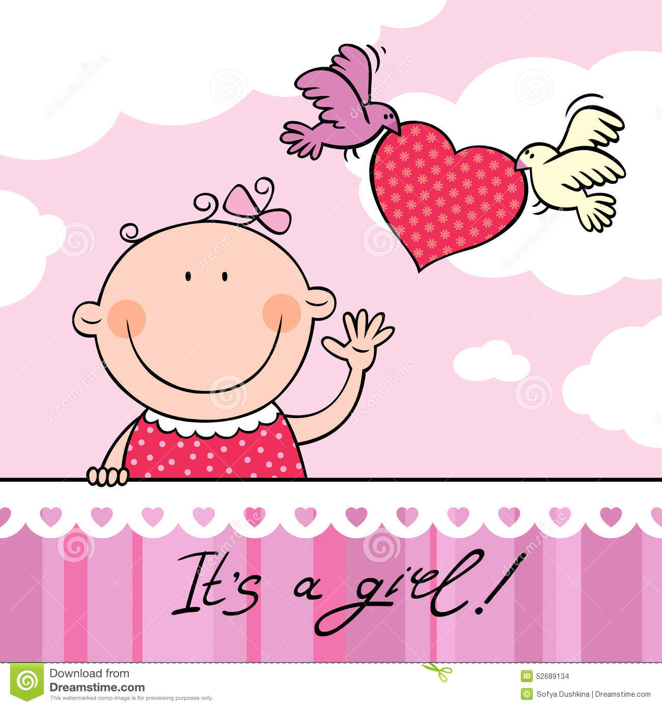 Baby girl greeting card stock vector illustration of carrying baby girl greeting card kristyandbryce Images