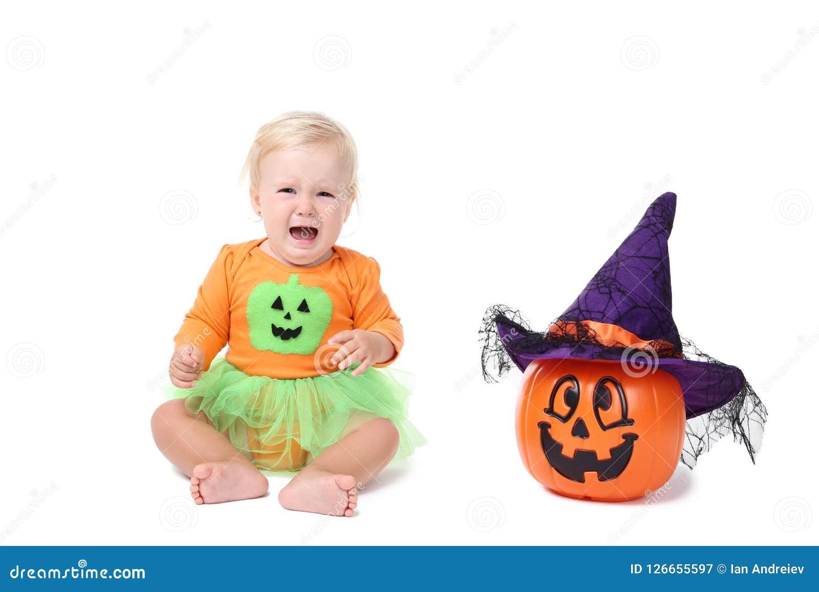 baby girl in halloween costume stock image - image of halloween