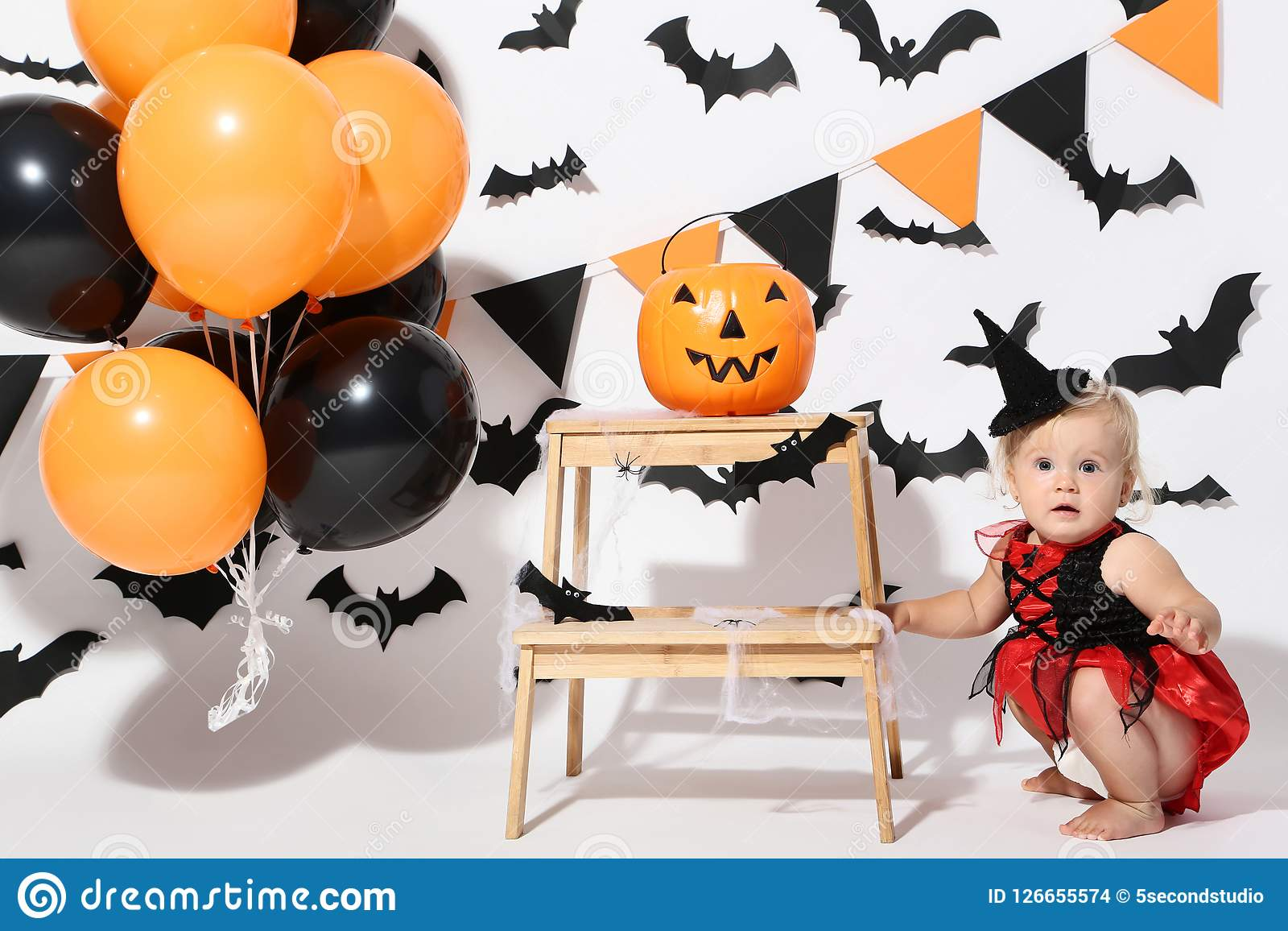baby girl in halloween costume stock photo - image of child, fashion